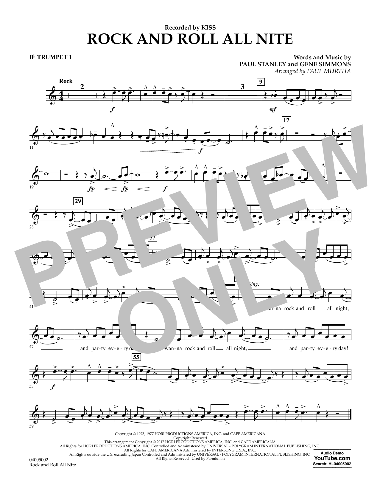 Rock and Roll All Nite - Bb Trumpet 1 Partition Digitale
