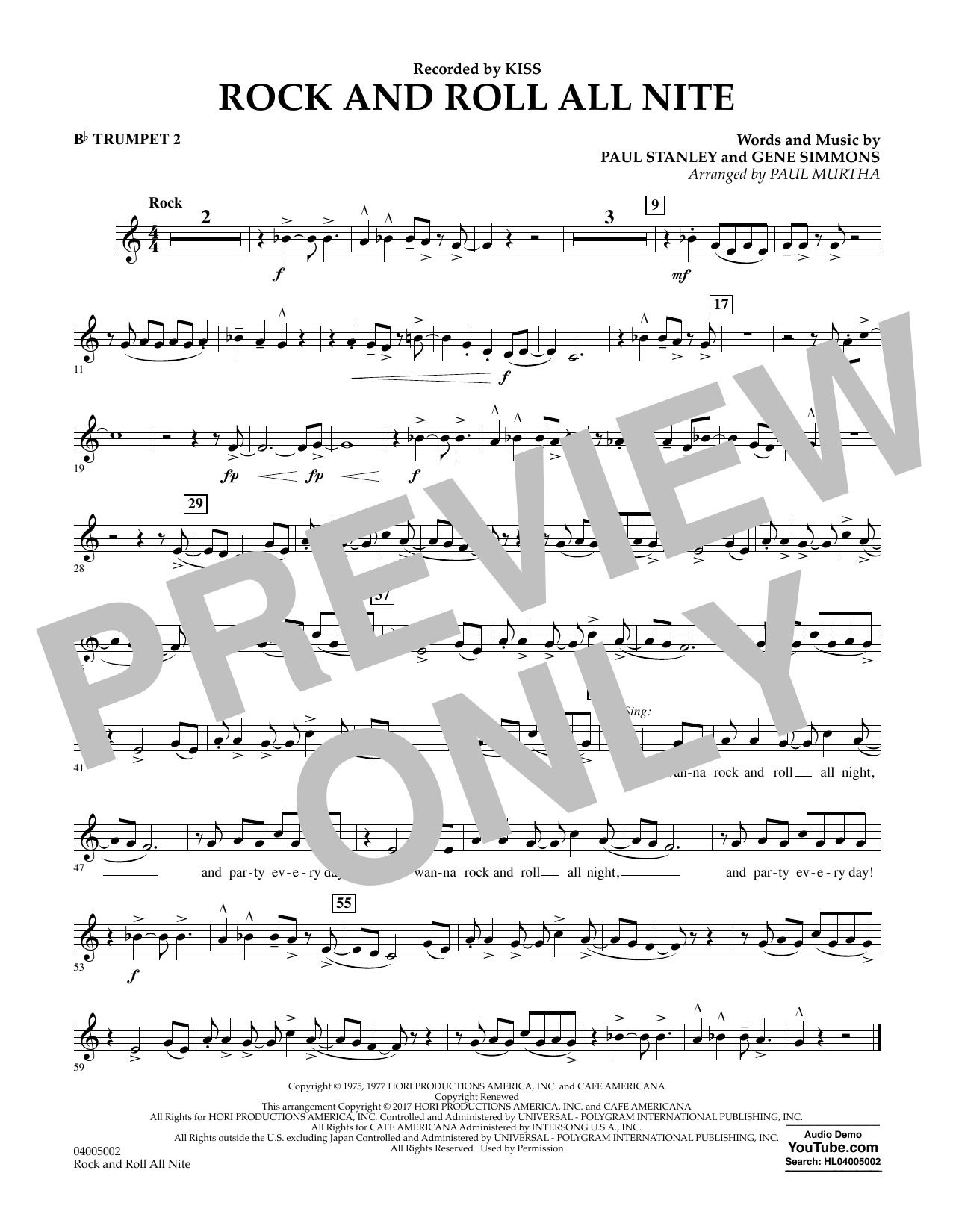Rock and Roll All Nite - Bb Trumpet 2 Sheet Music