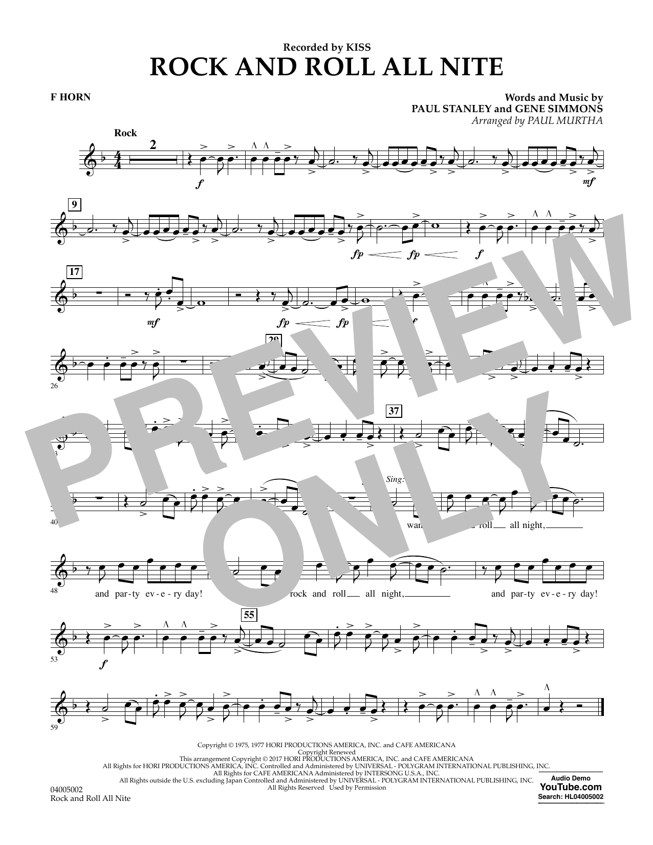 Rock and Roll All Nite - F Horn Partition Digitale