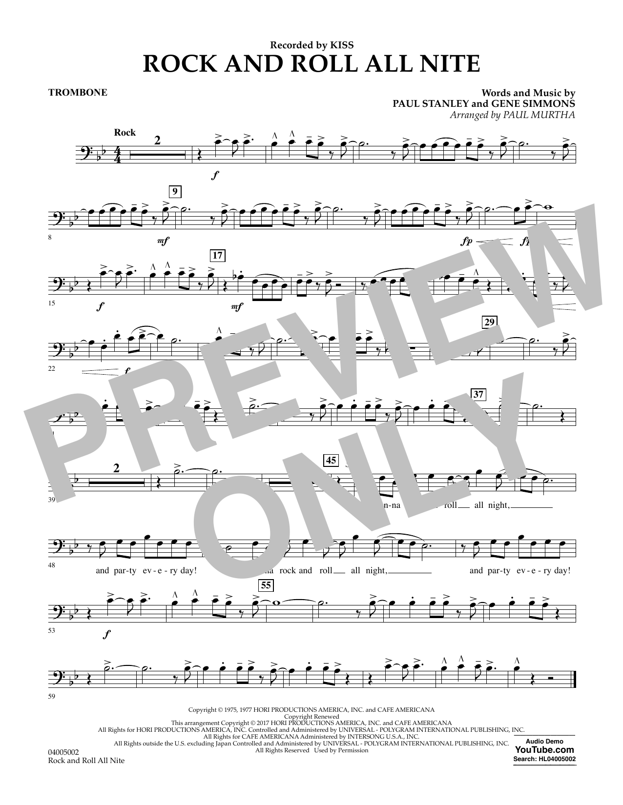 Rock and Roll All Nite - Trombone Sheet Music