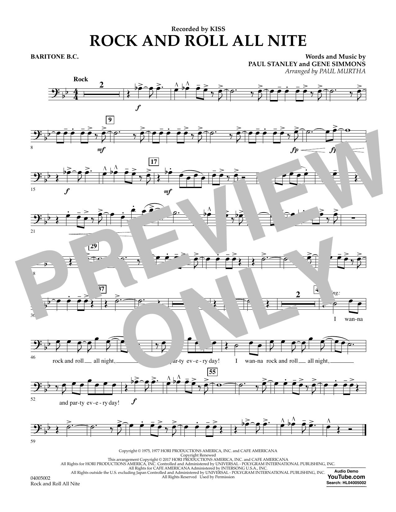 Rock and Roll All Nite - Baritone B.C. Sheet Music