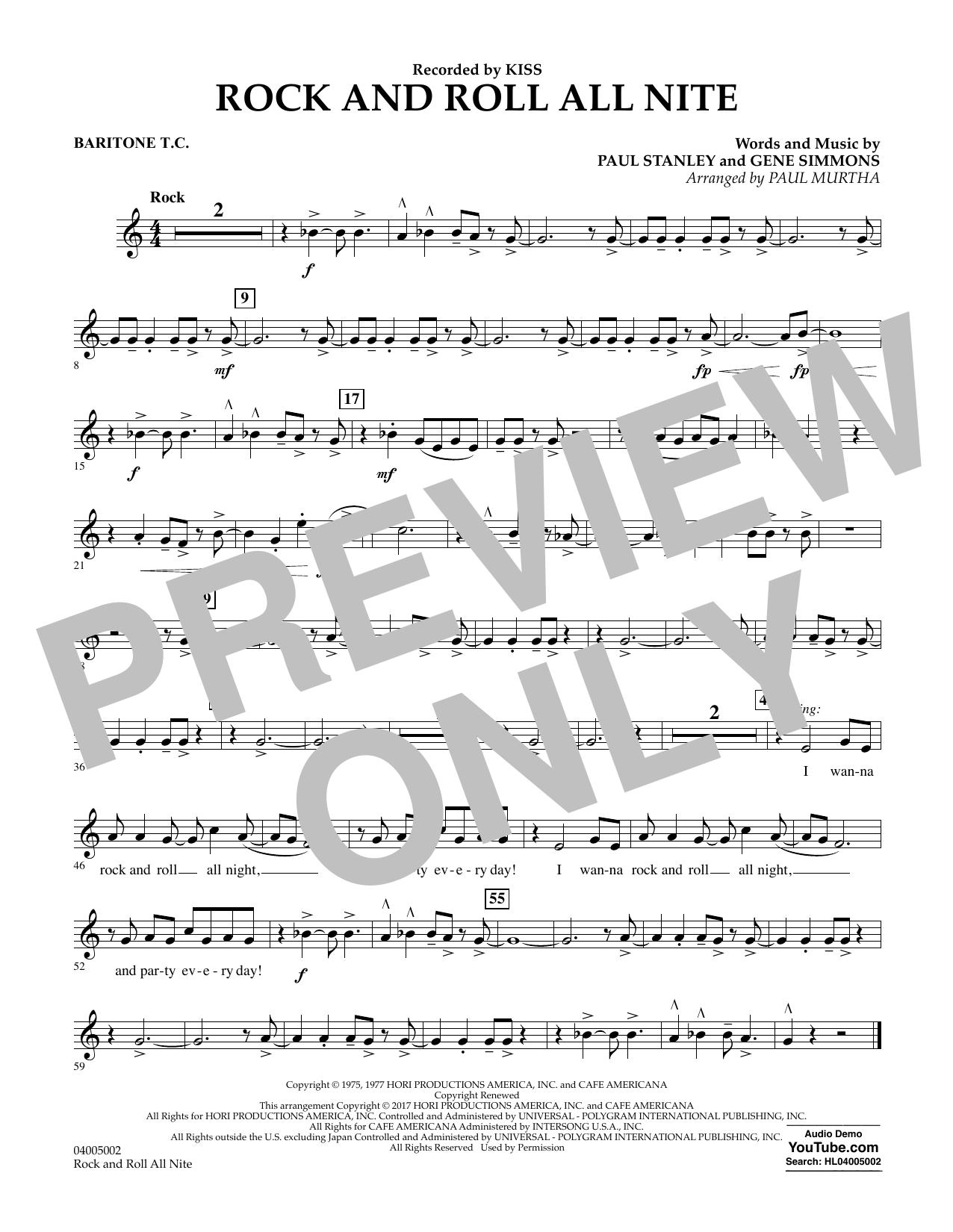 Rock and Roll All Nite - Baritone T.C. Sheet Music