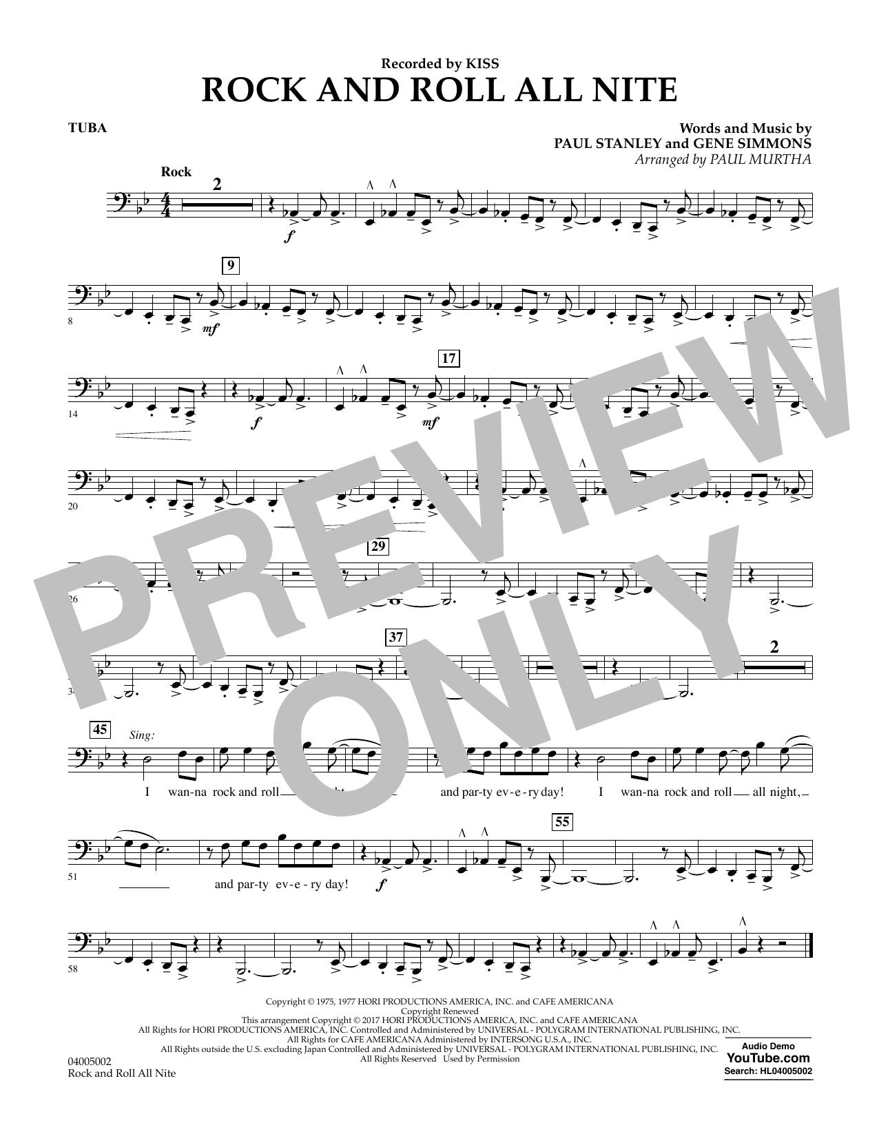 Rock and Roll All Nite - Tuba Sheet Music