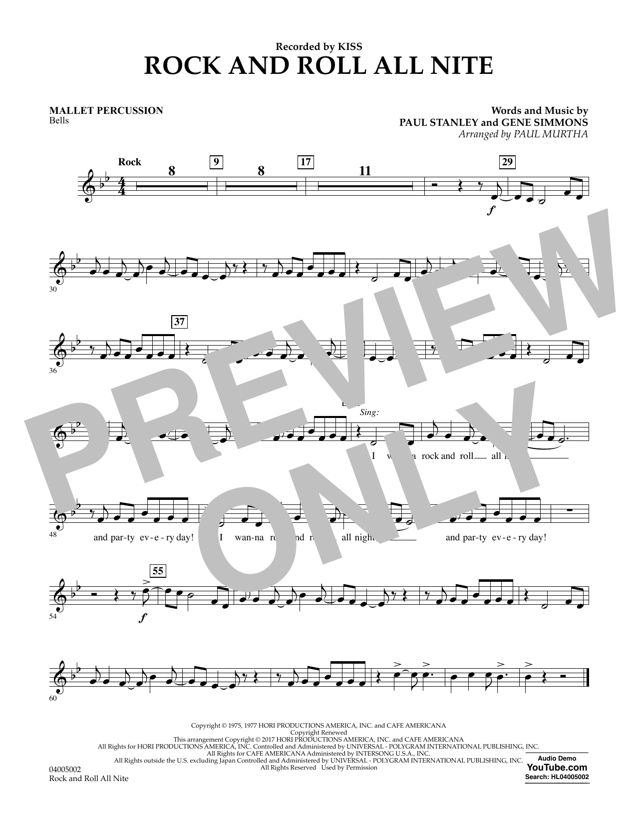Rock and Roll All Nite - Mallet Percussion Sheet Music