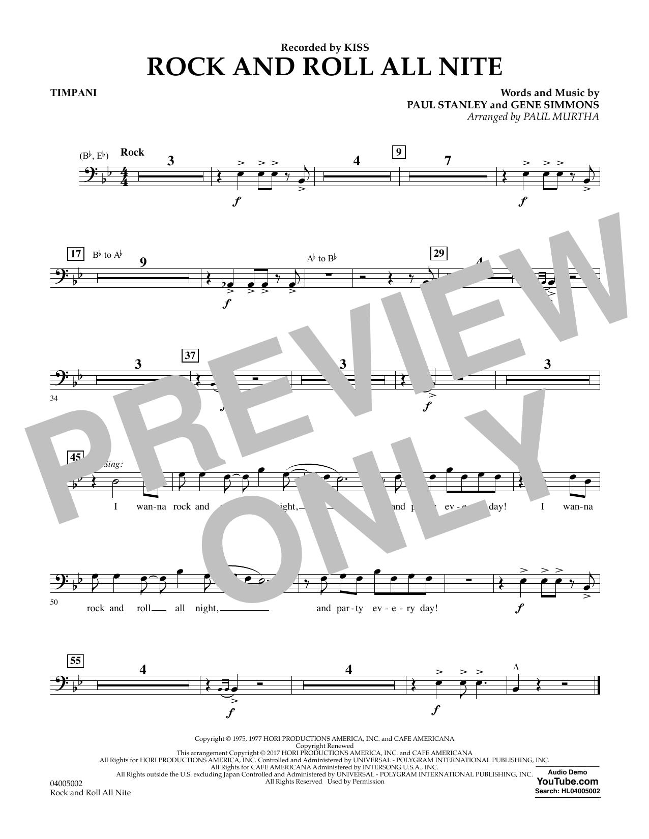Rock and Roll All Nite - Timpani Sheet Music