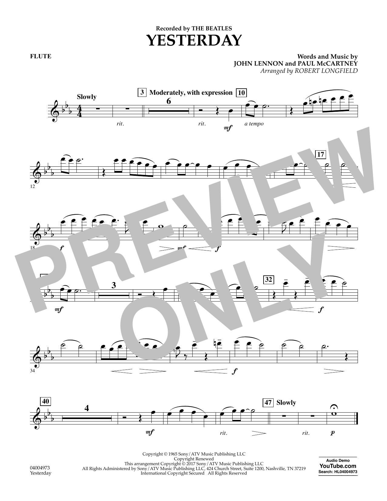 Yesterday - Flute Sheet Music