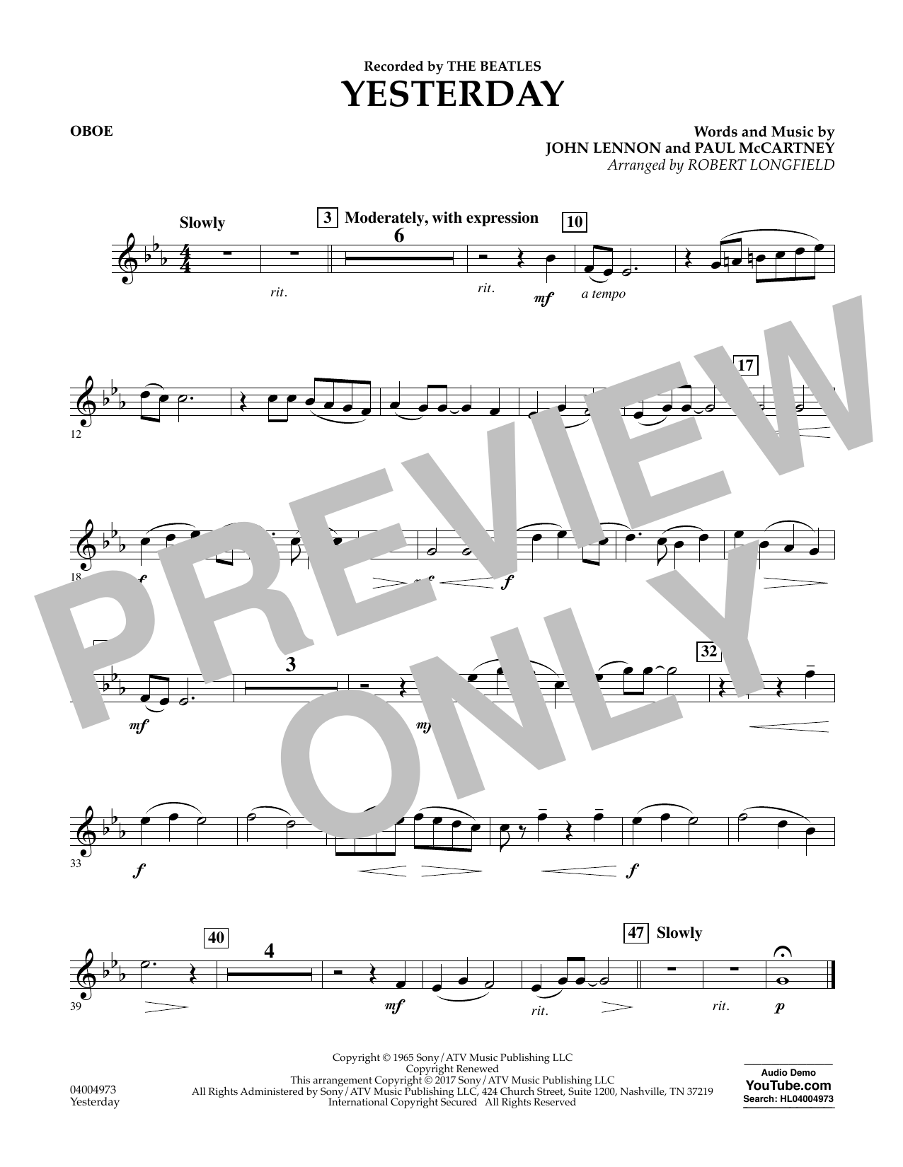 Yesterday - Oboe Sheet Music