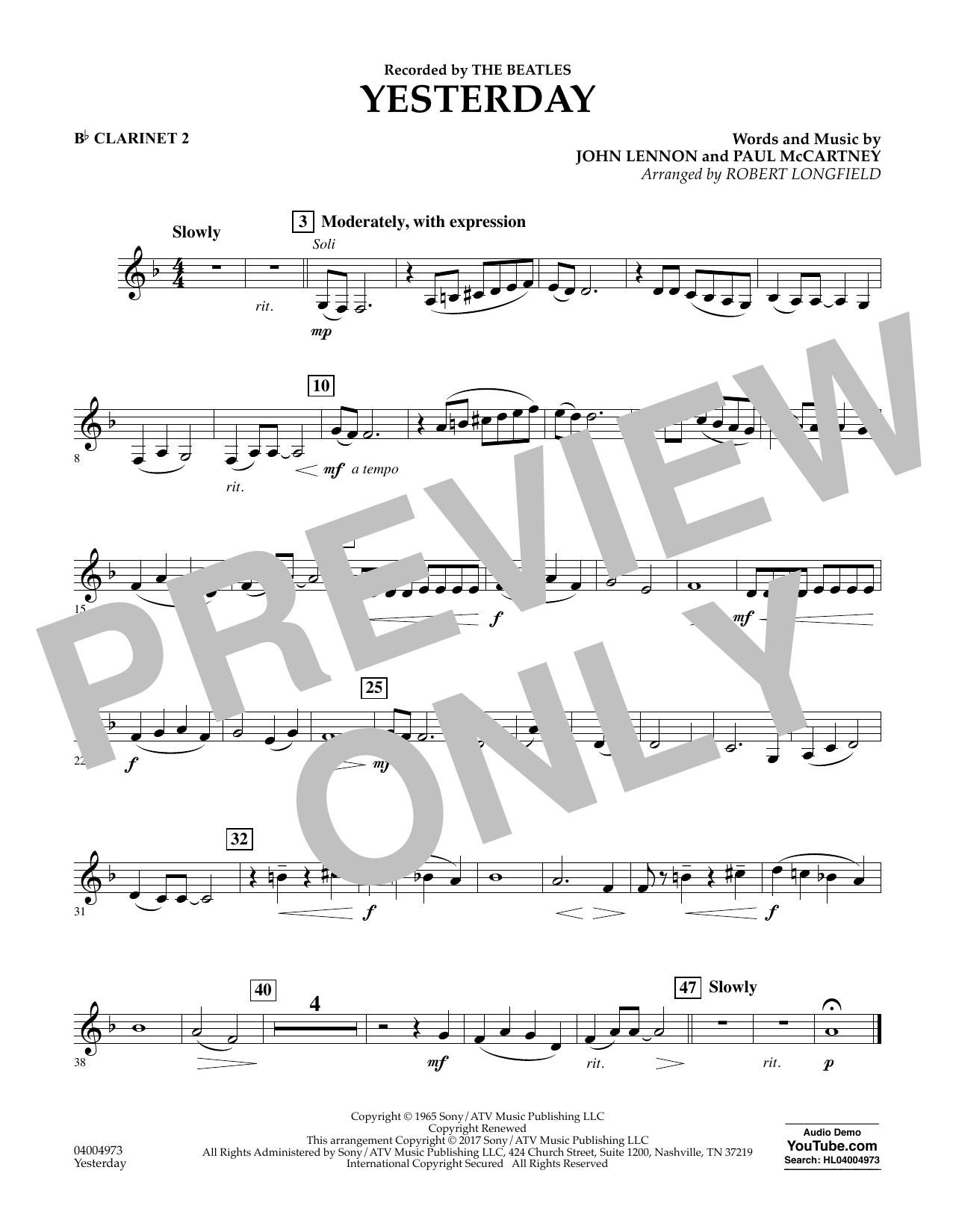 Yesterday - Bb Clarinet 2 Sheet Music