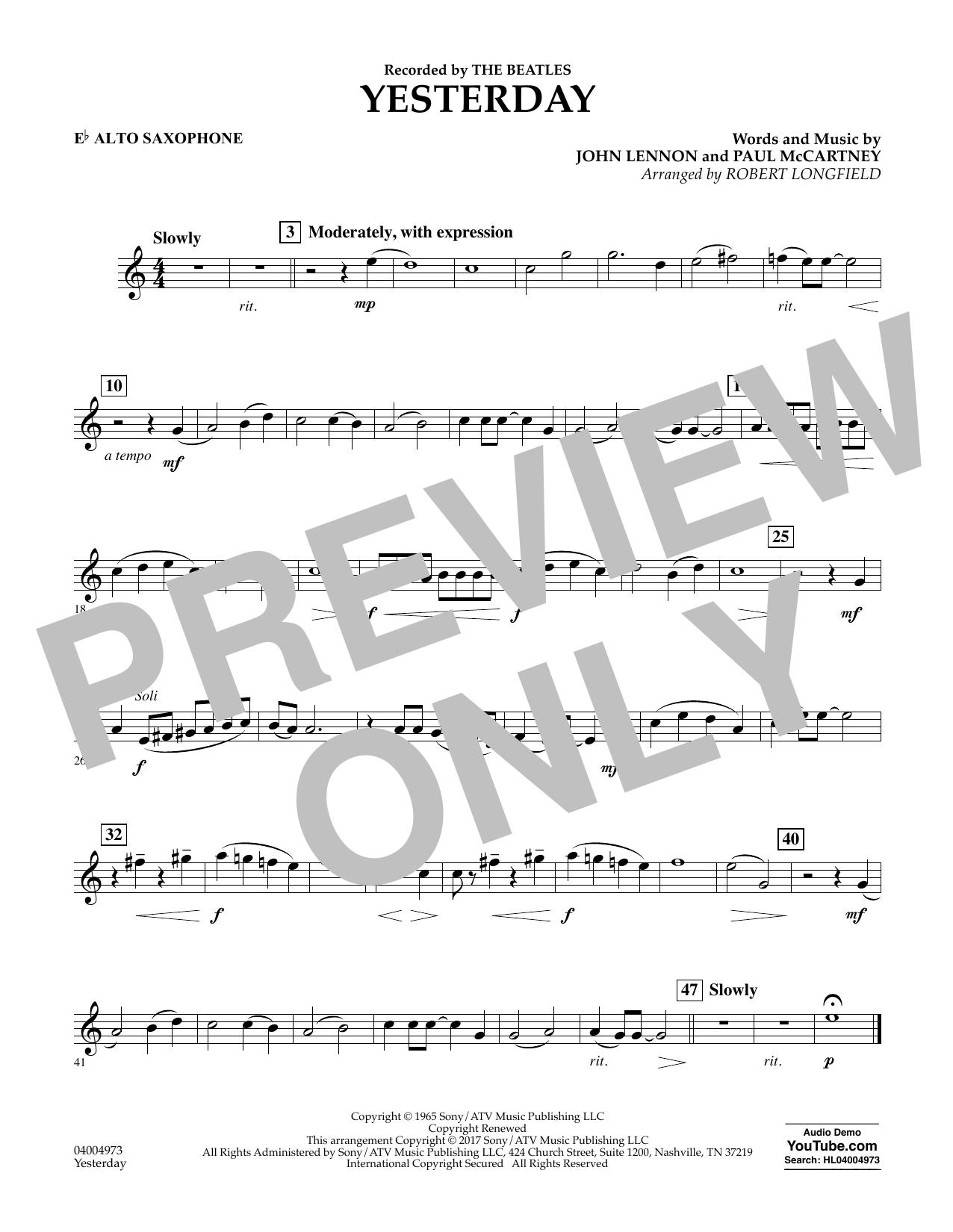 Yesterday - Eb Alto Saxophone Sheet Music