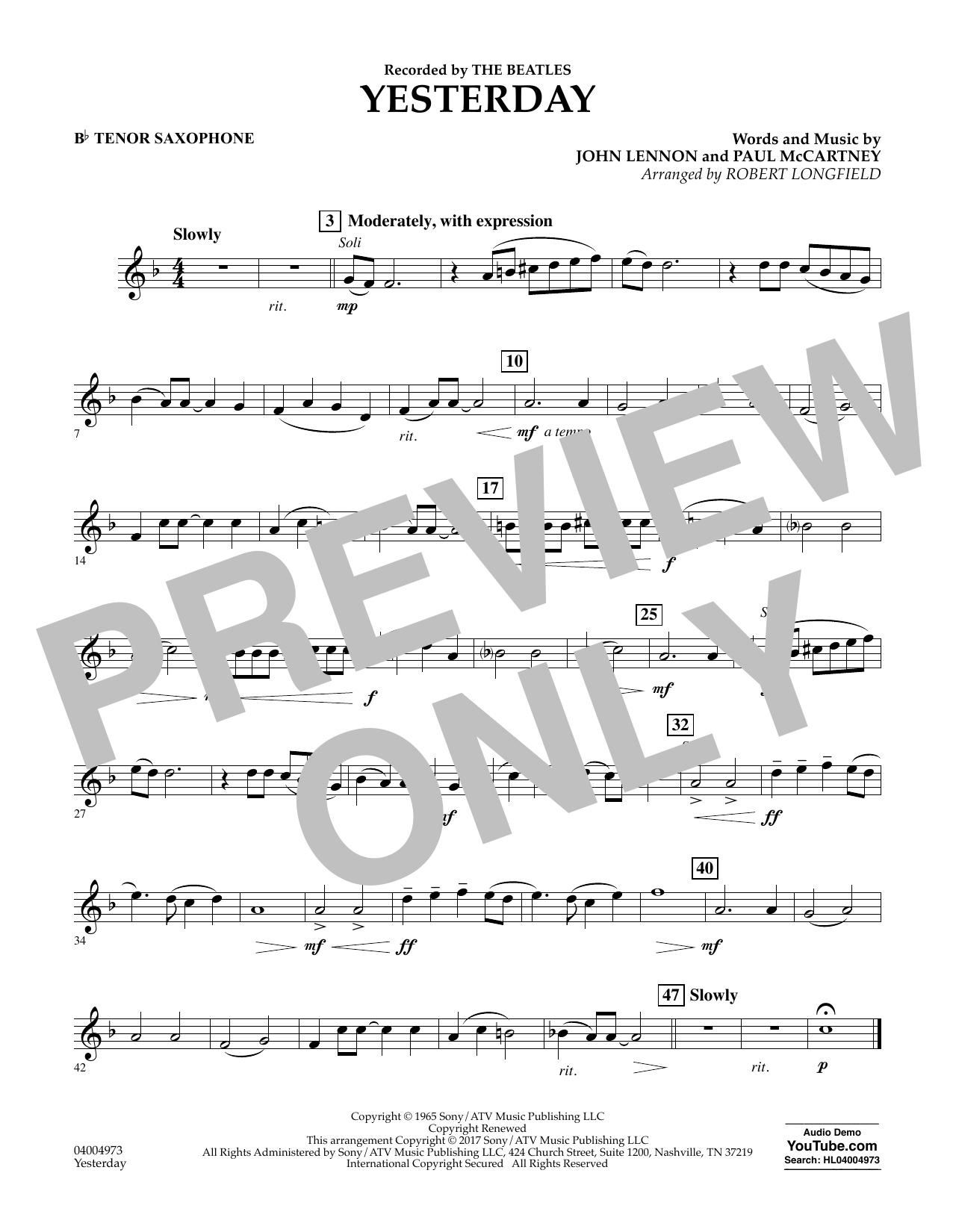 Yesterday - Bb Tenor Saxophone Sheet Music