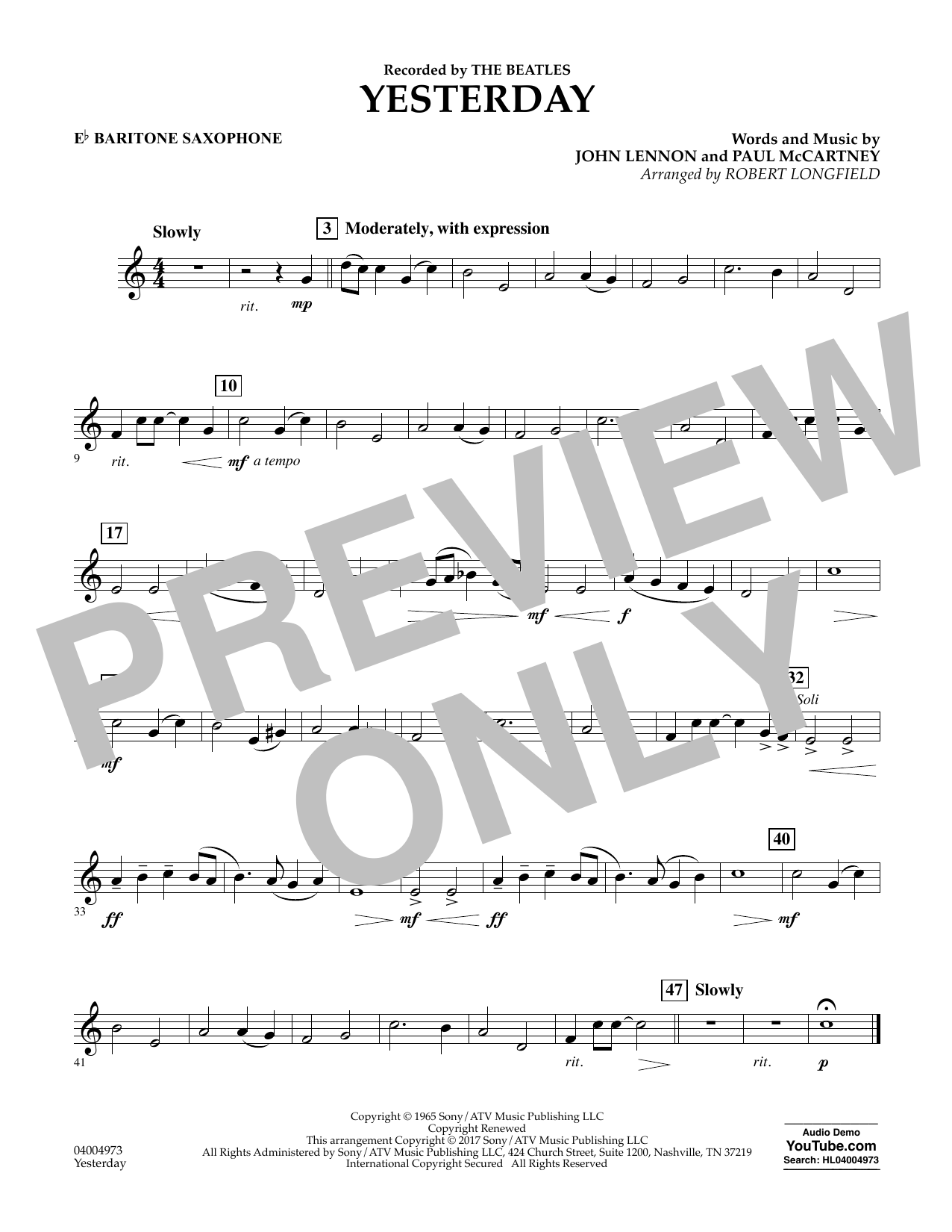 Yesterday - Eb Baritone Saxophone Sheet Music