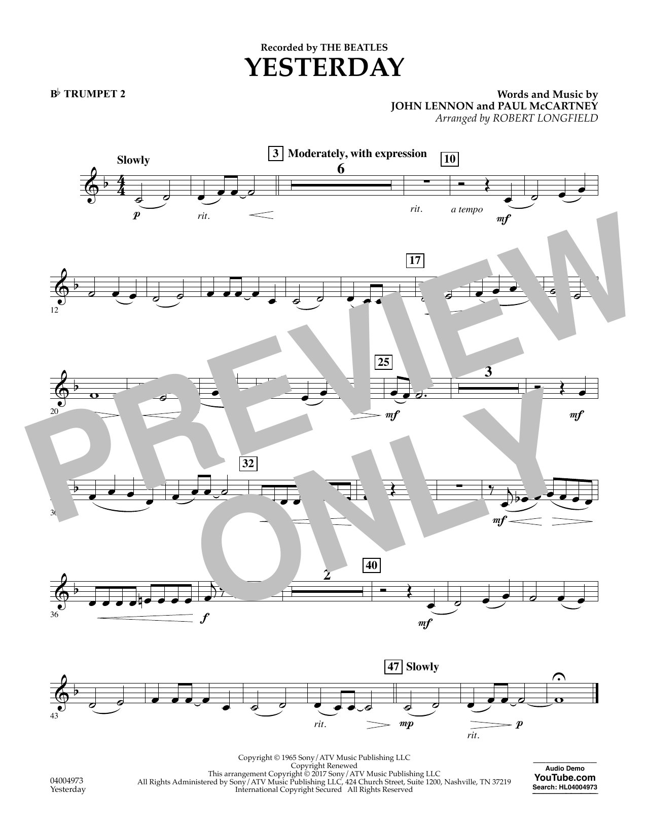 Yesterday - Bb Trumpet 2 Sheet Music