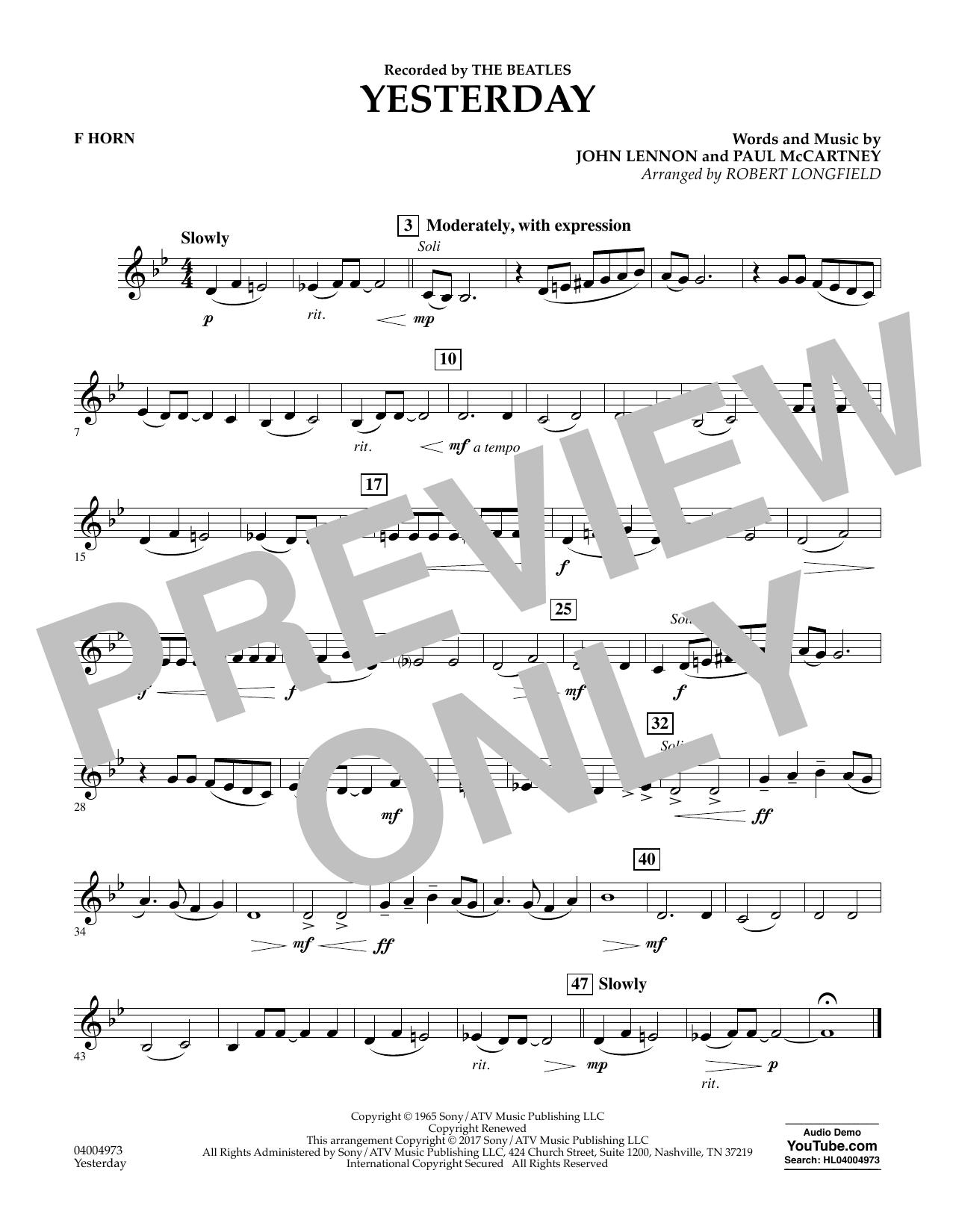 Yesterday - F Horn Sheet Music