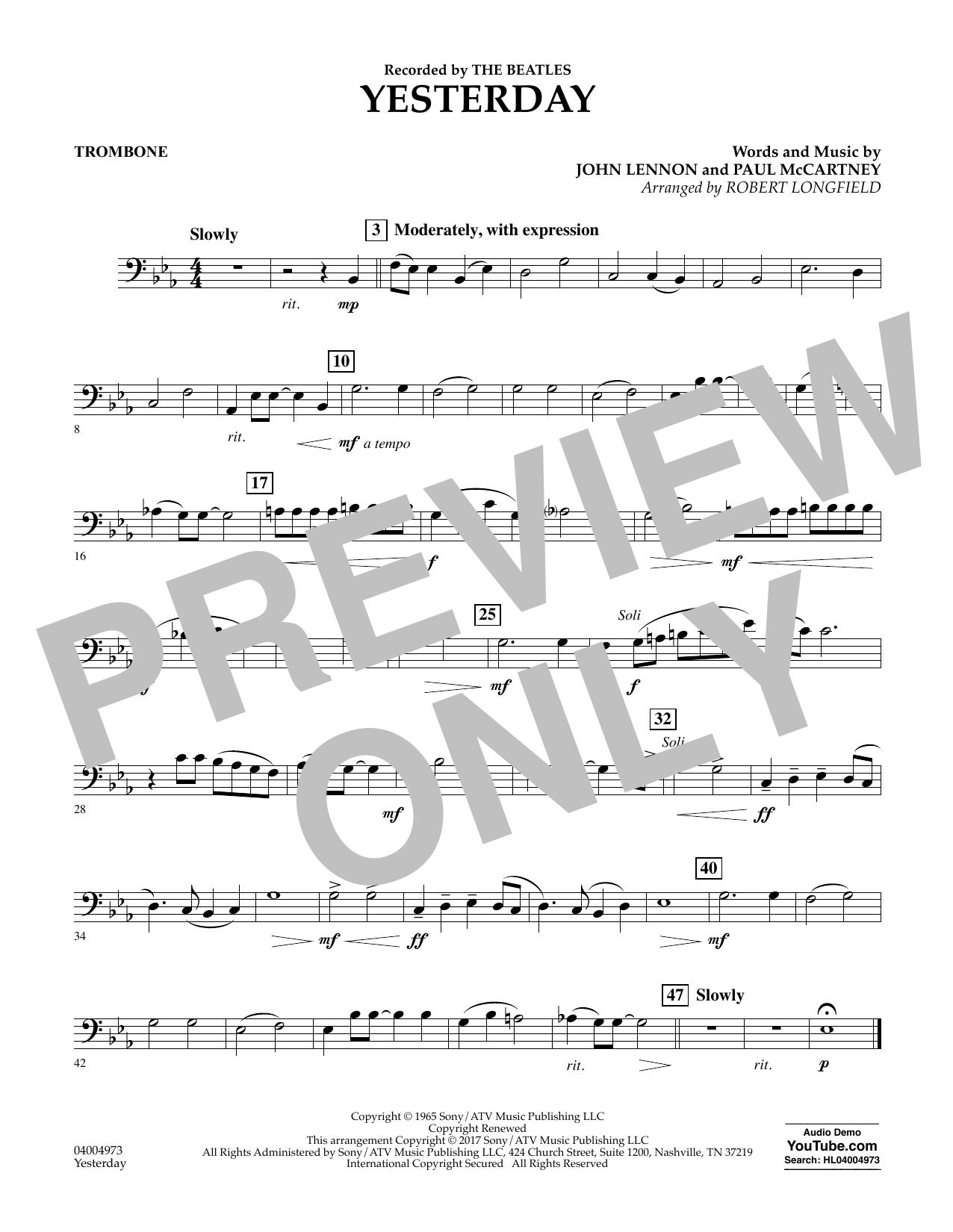 Yesterday - Trombone Sheet Music