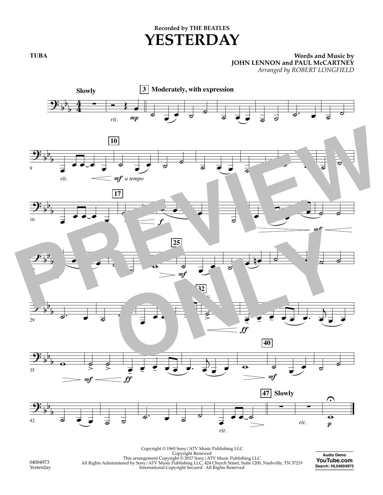 Yesterday - Tuba Sheet Music