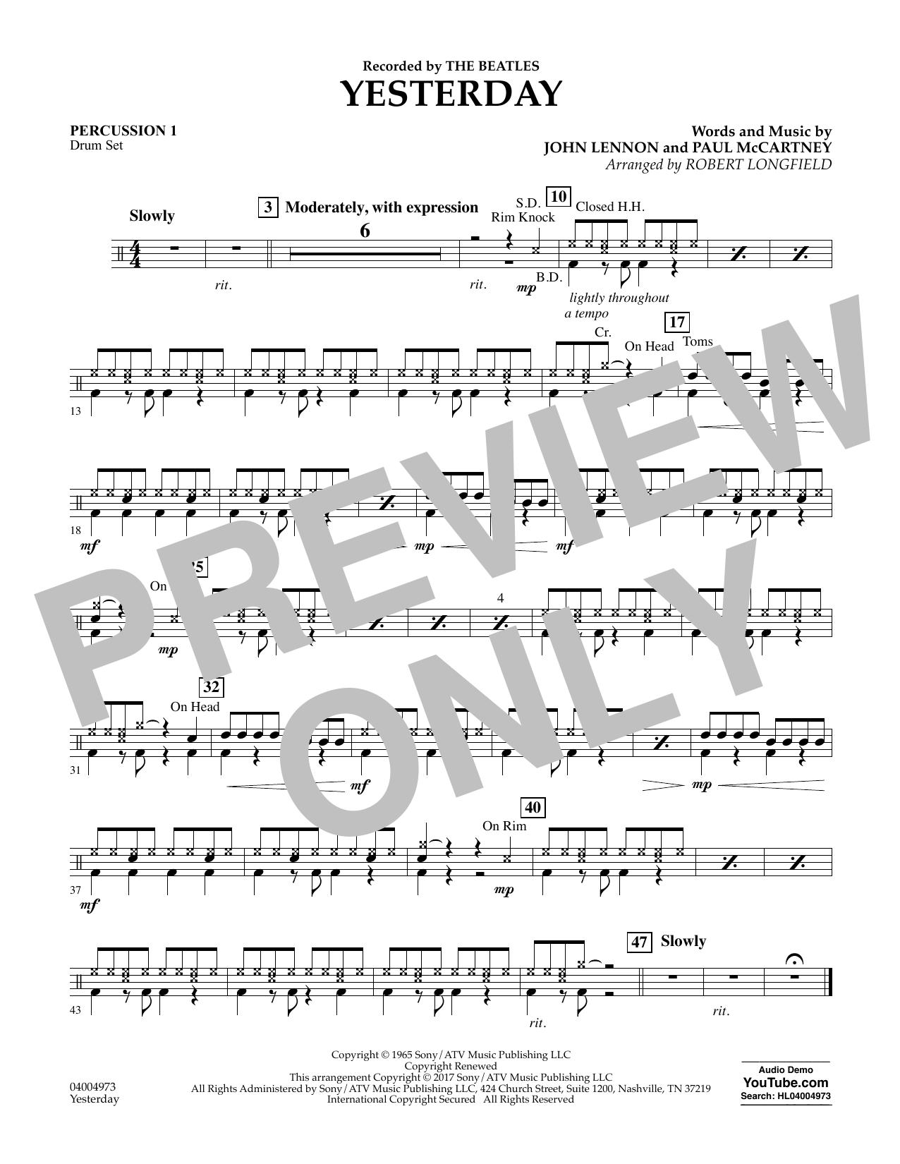 Yesterday - Percussion 1 Sheet Music