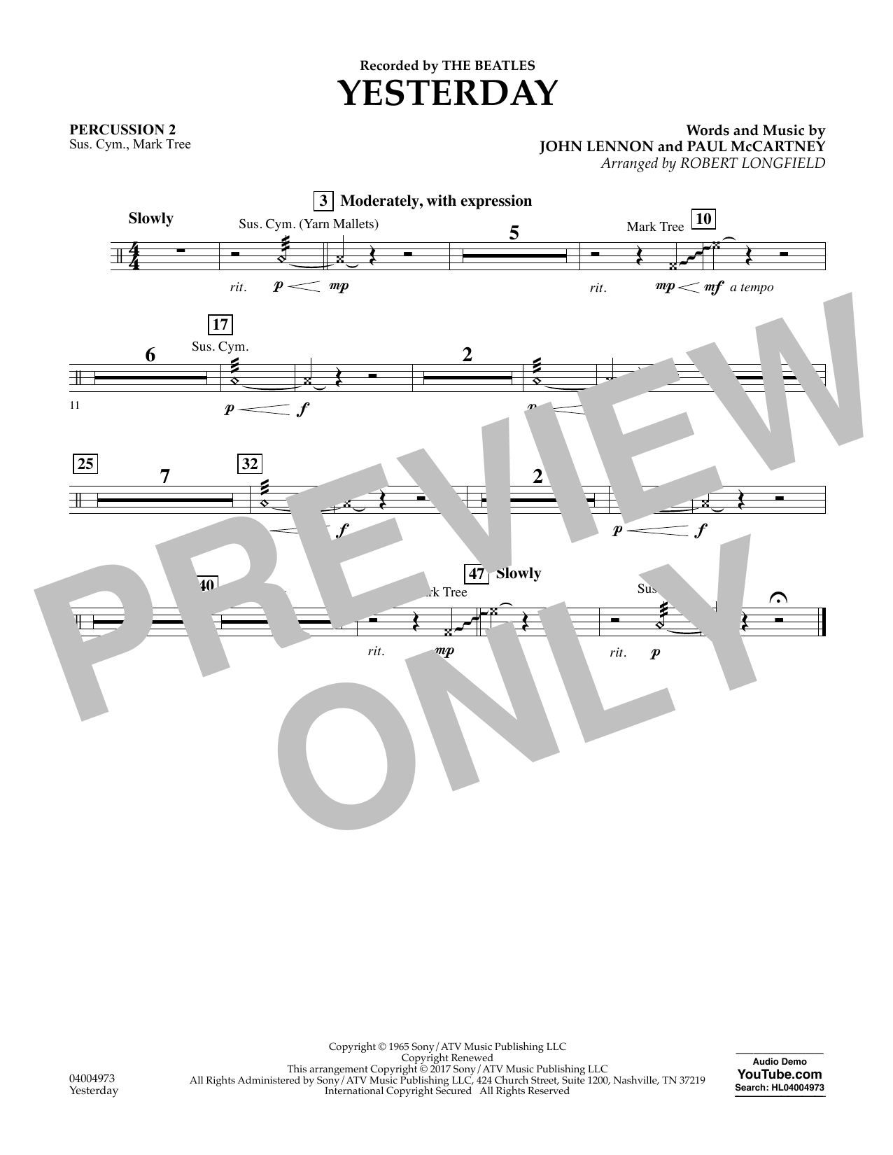 Yesterday - Percussion 2 Sheet Music