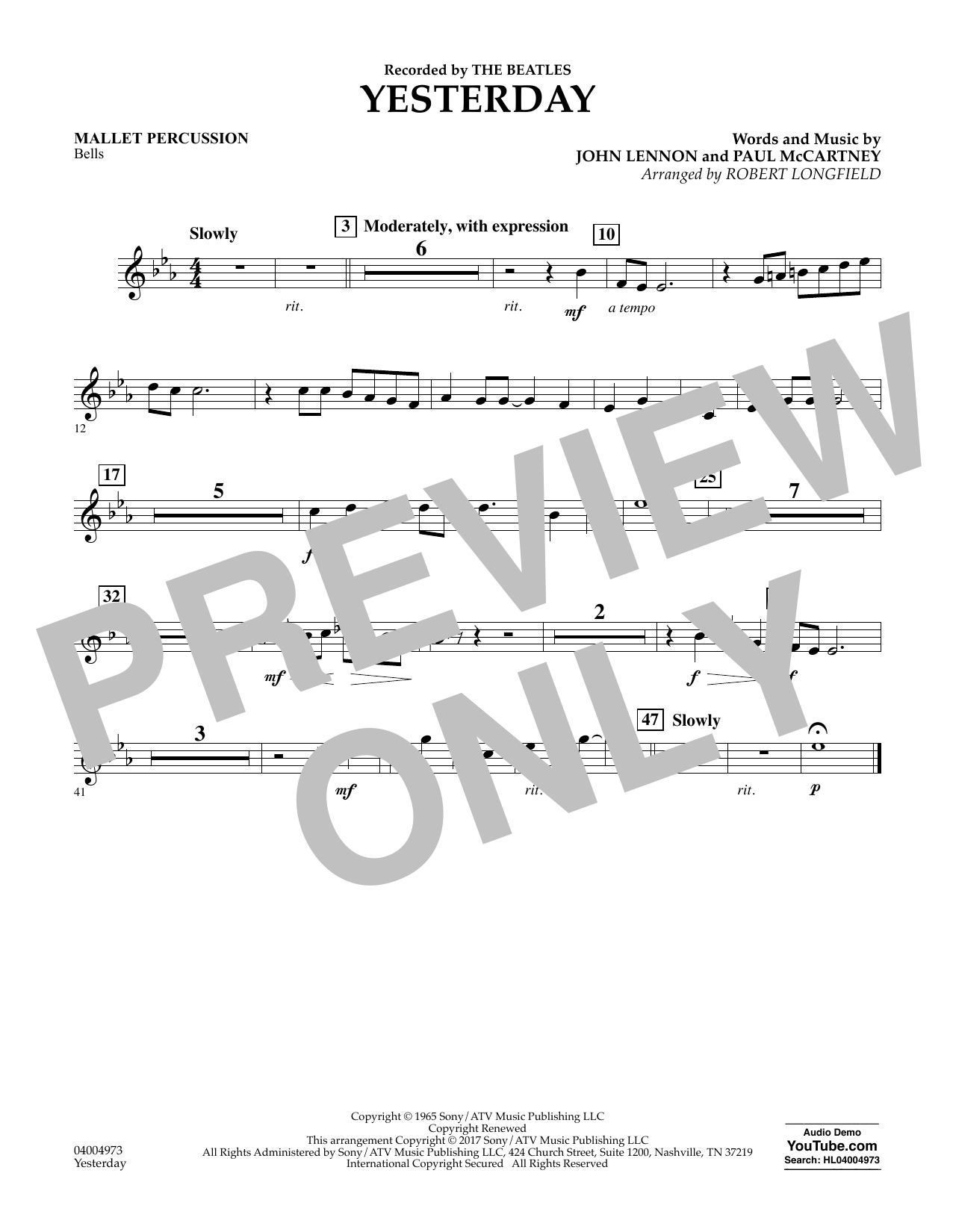 Yesterday - Mallet Percussion Sheet Music