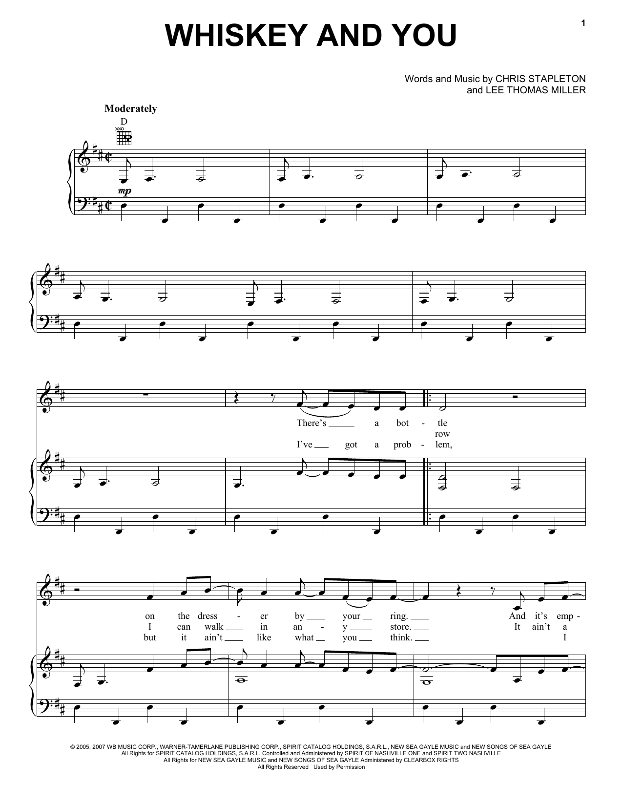 Whiskey And You (Piano, Vocal & Guitar (Right-Hand Melody))
