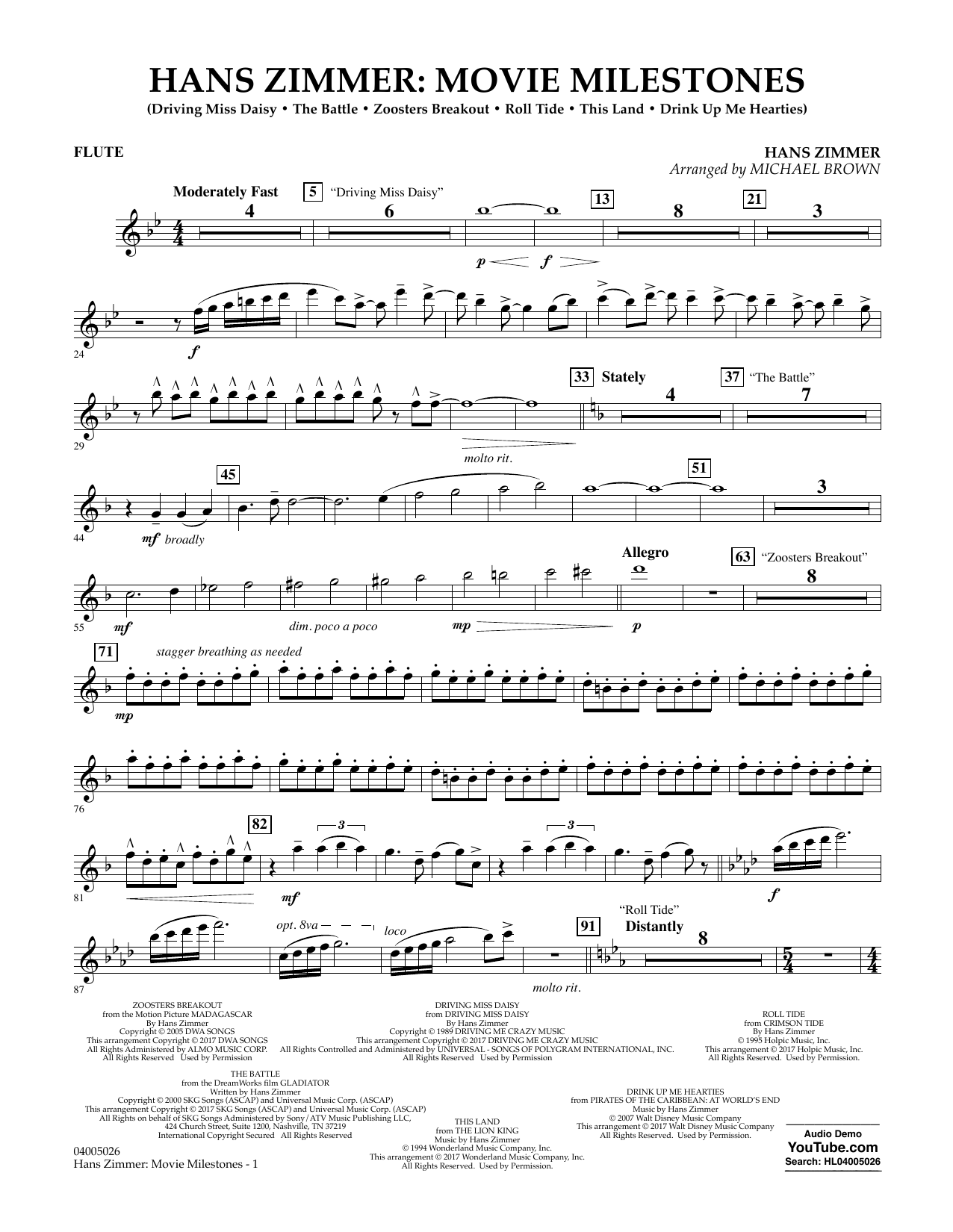 Hans Zimmer: Movie Milestones - Flute Sheet Music
