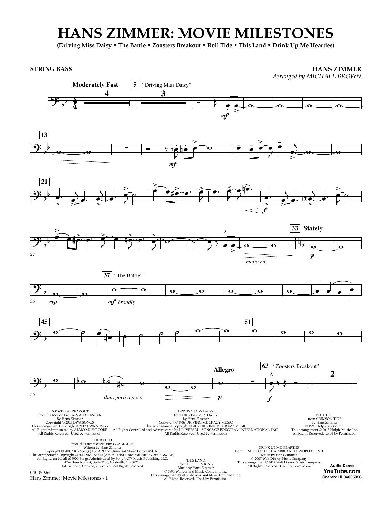 Hans Zimmer: Movie Milestones - String Bass Sheet Music