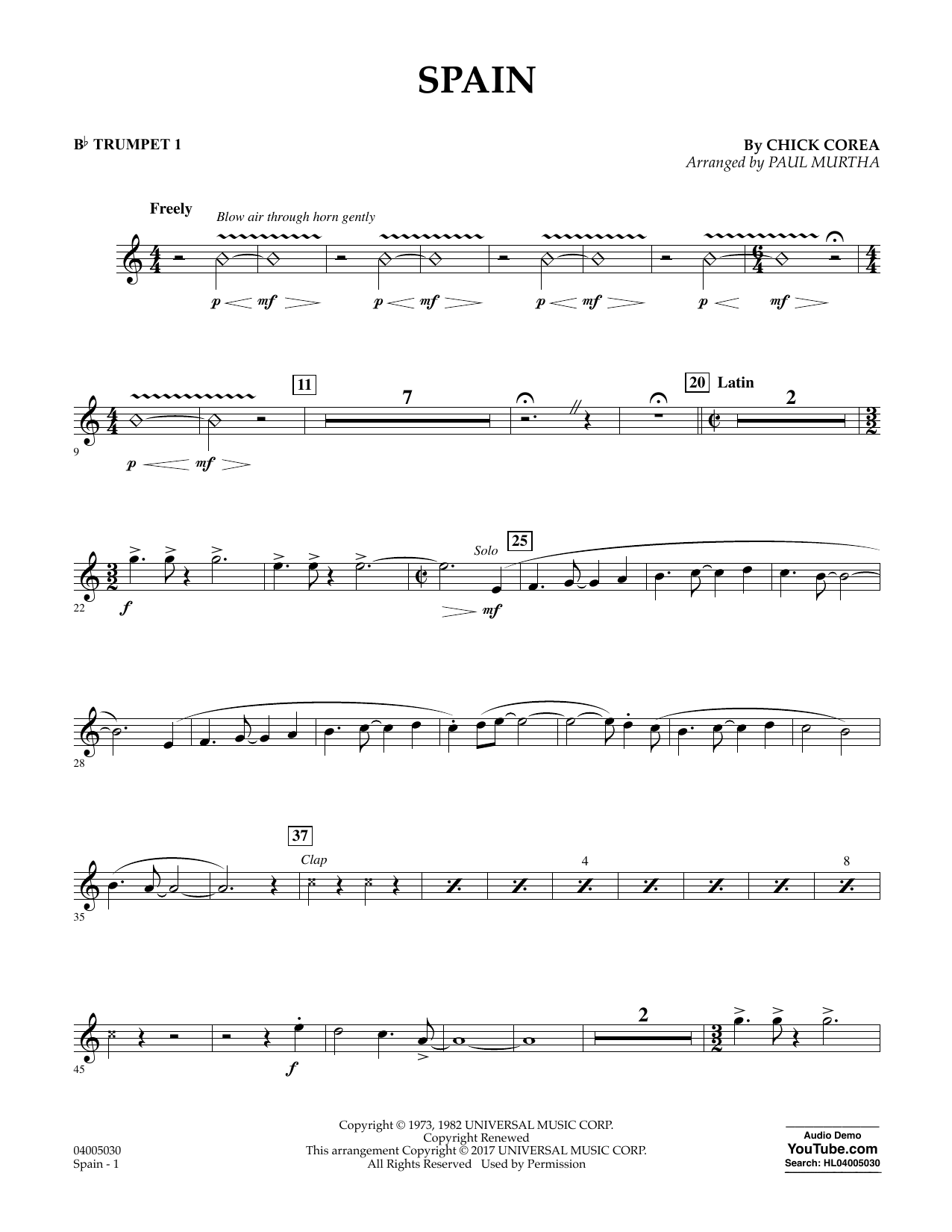 Spain - Bb Trumpet 1 Sheet Music
