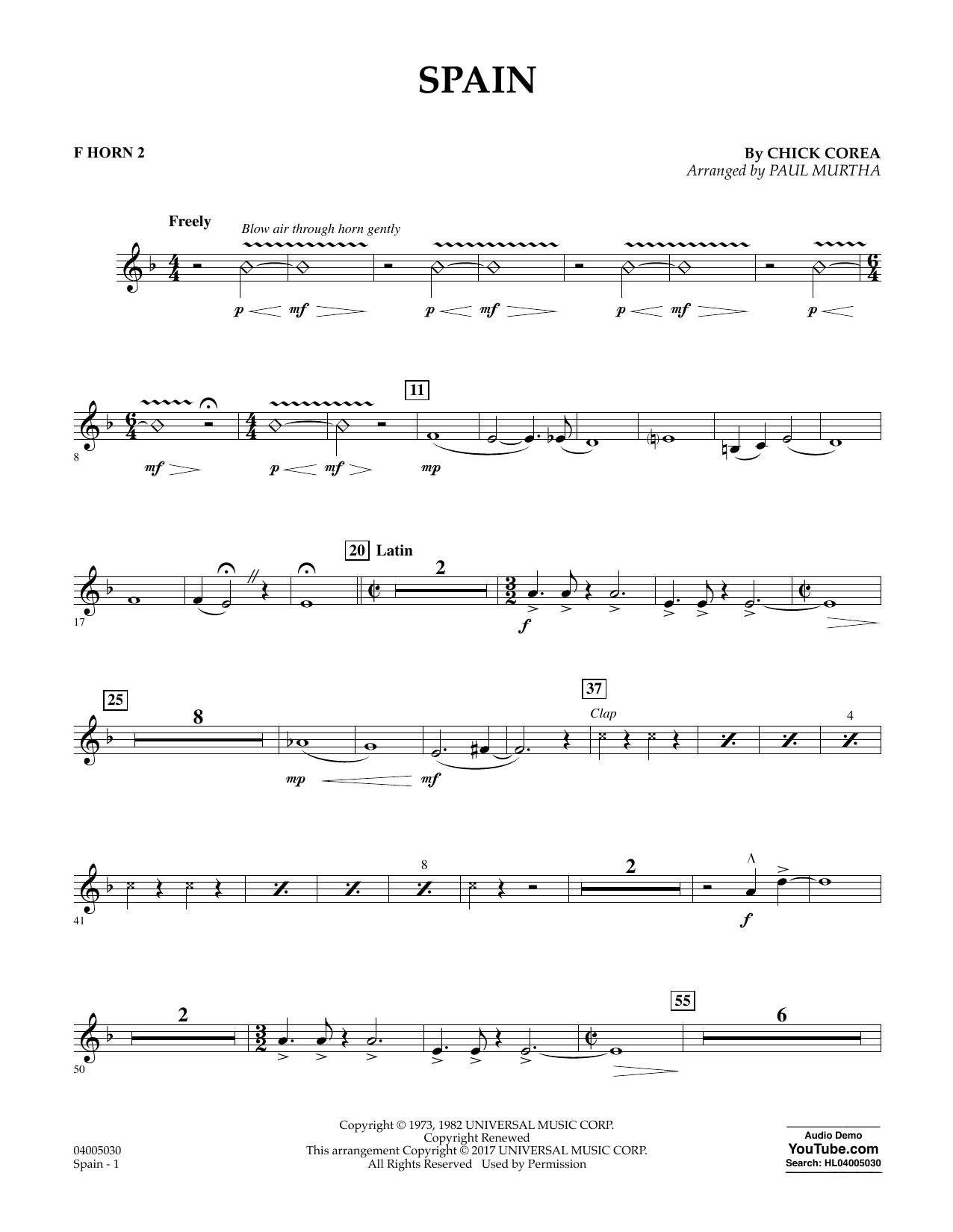 Spain - F Horn 2 Sheet Music