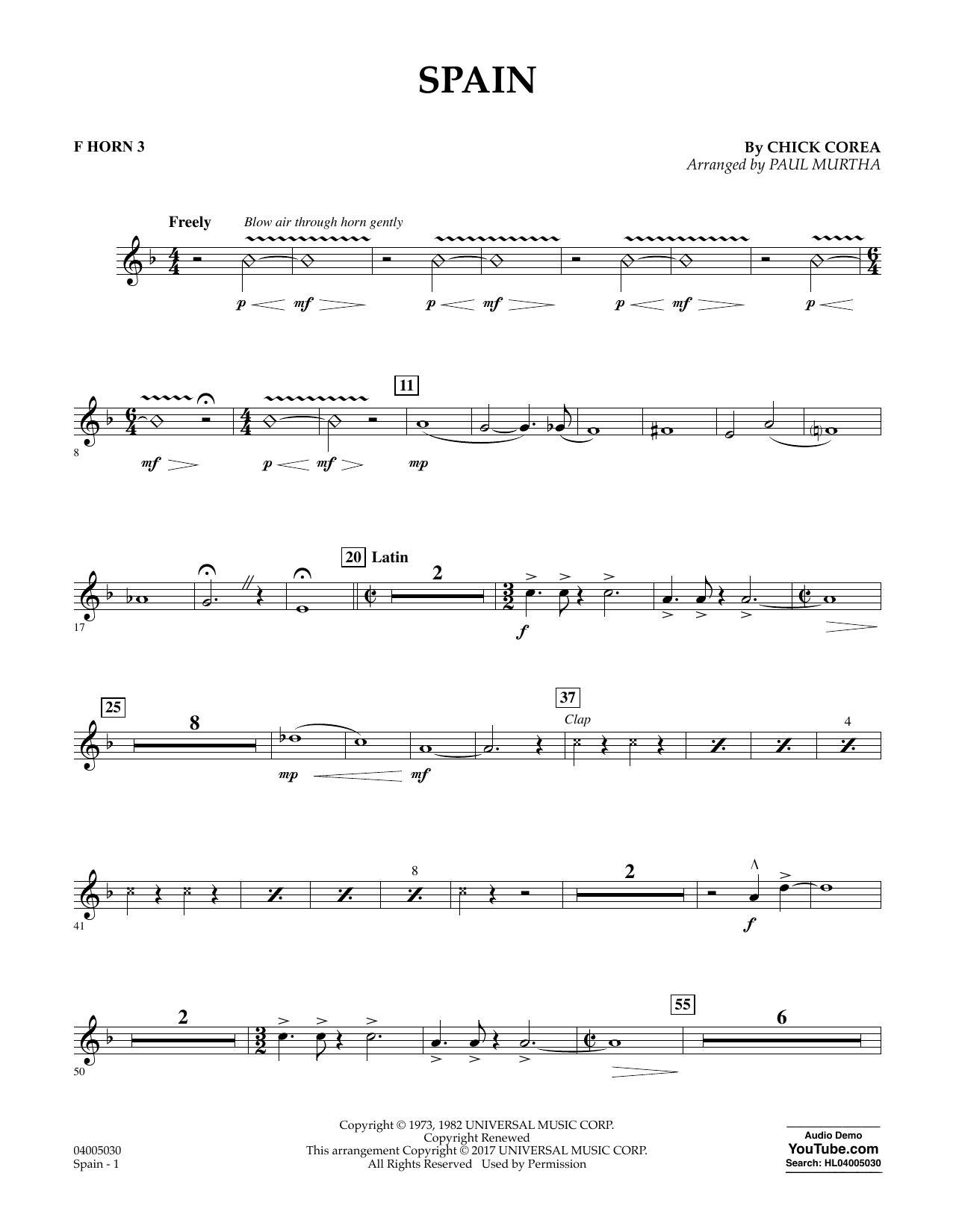 Spain - F Horn 3 Sheet Music