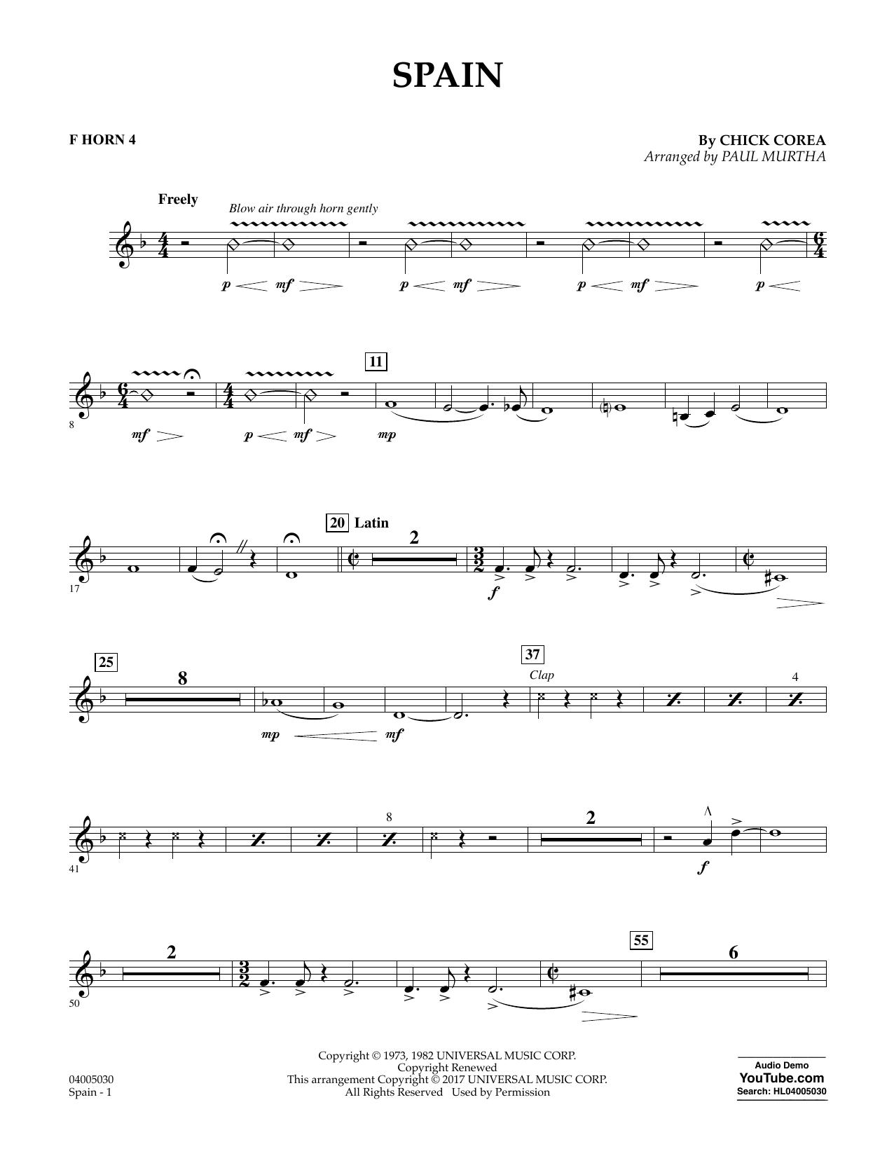 Spain - F Horn 4 Sheet Music