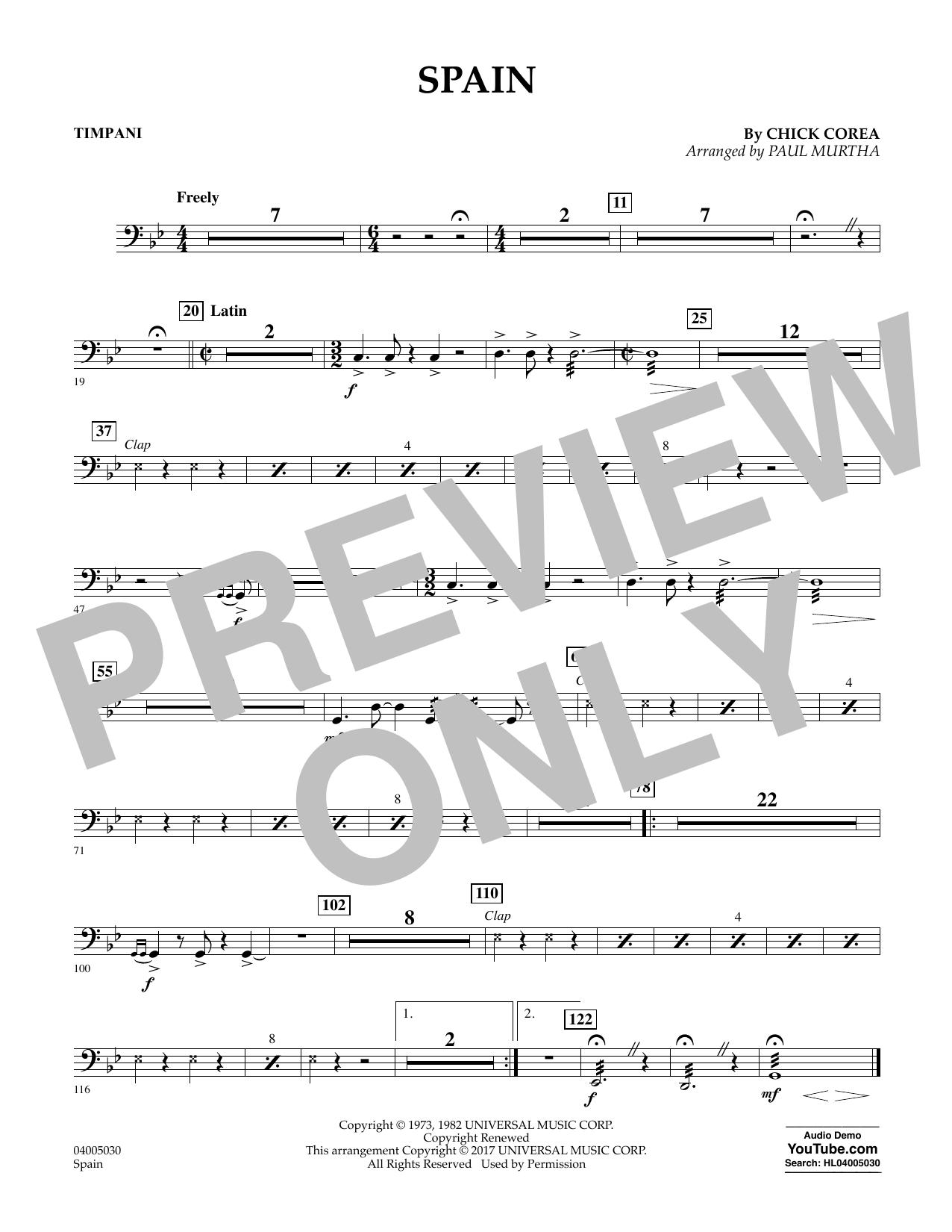 Spain - Timpani Sheet Music