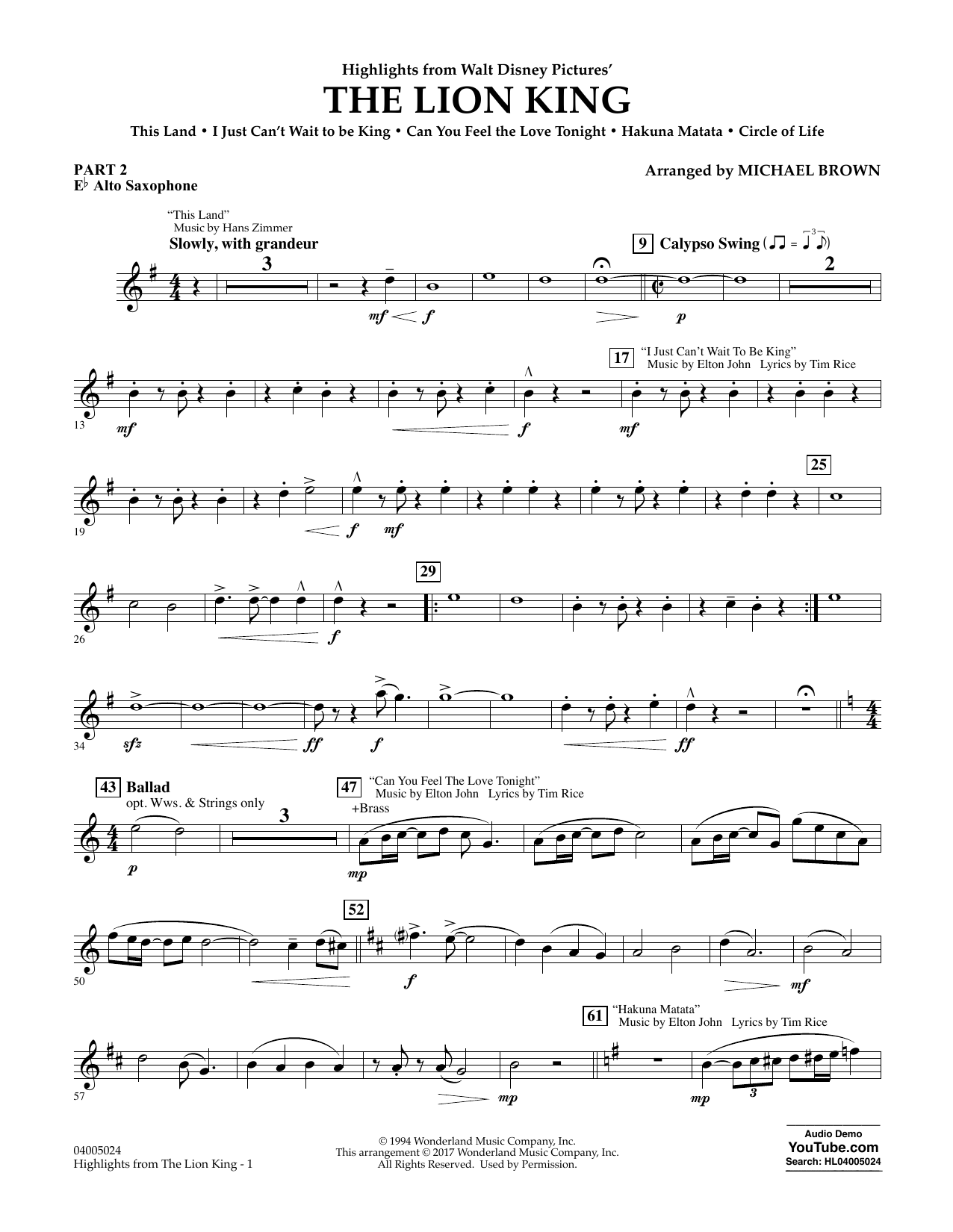 Highlights from The Lion King - Pt.2 - Eb Alto Saxophone Sheet Music