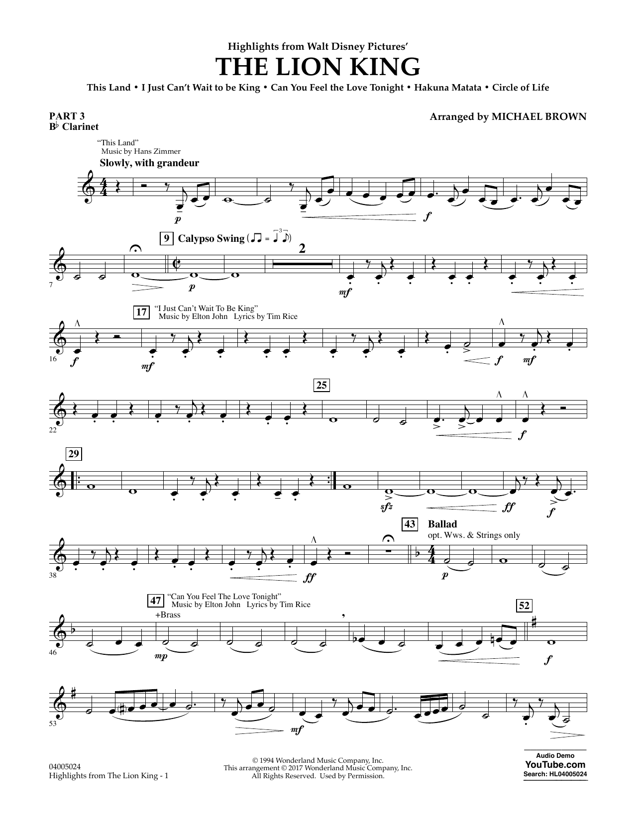 Highlights from The Lion King - Pt.3 - Bb Clarinet Sheet Music
