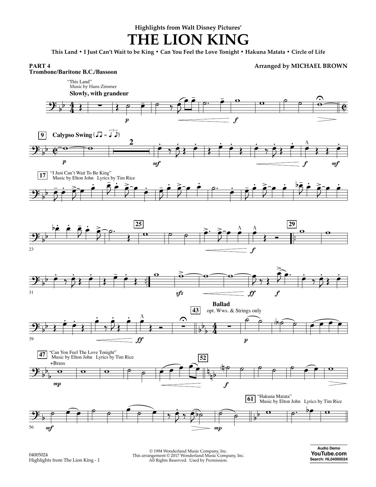 Highlights from The Lion King - Pt.4 - Trombone/Bar. B.C./Bsn. Sheet Music