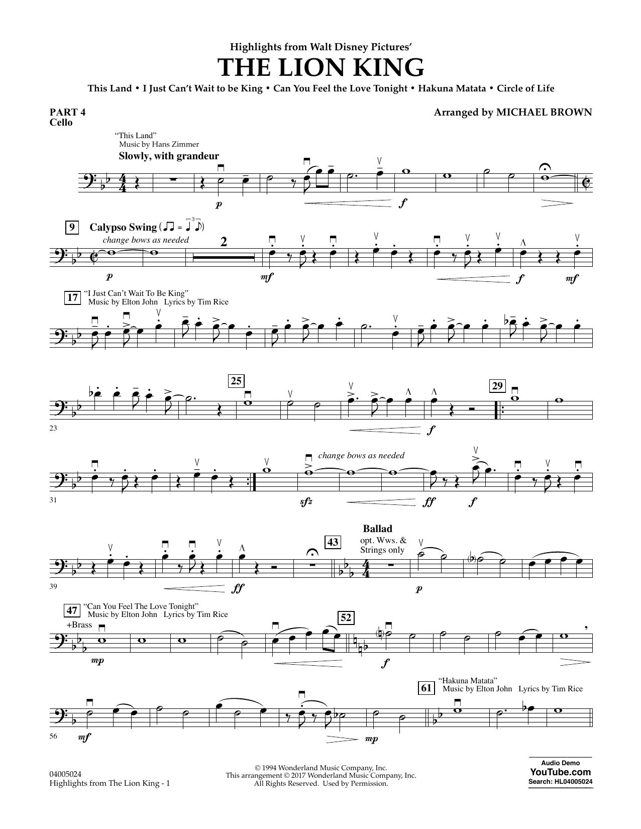 Highlights from The Lion King - Pt.4 - Cello Sheet Music