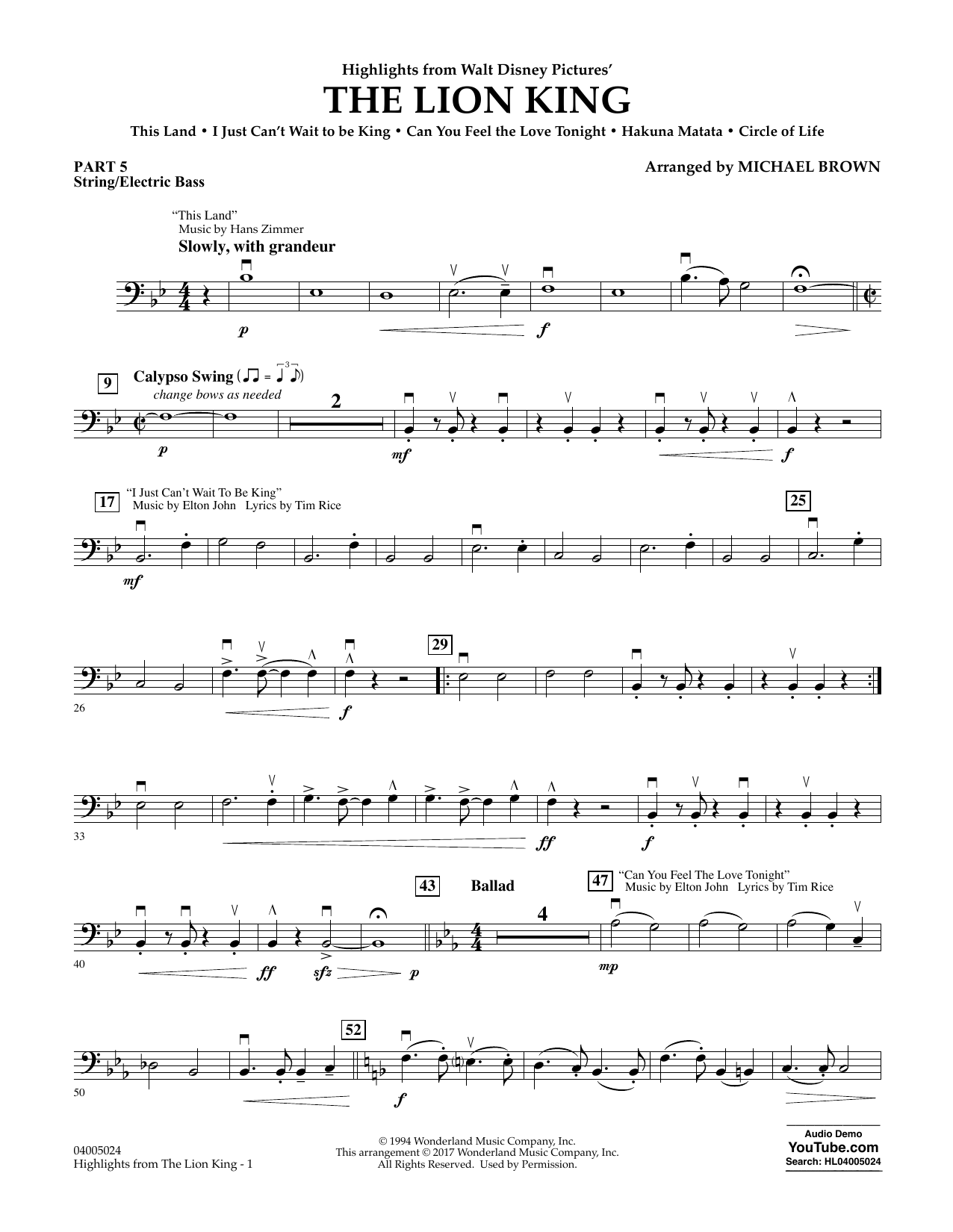 Highlights from The Lion King - Pt.5 - String/Electric Bass Sheet Music