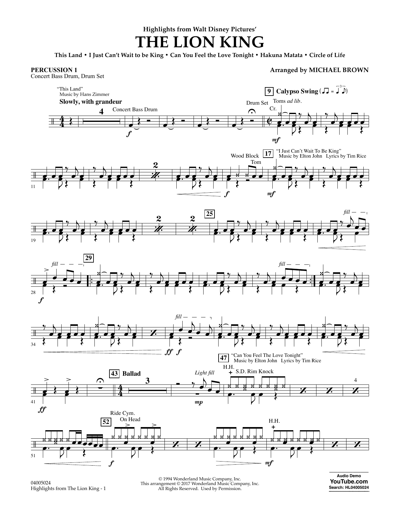 Highlights from The Lion King - Percussion 1 Sheet Music