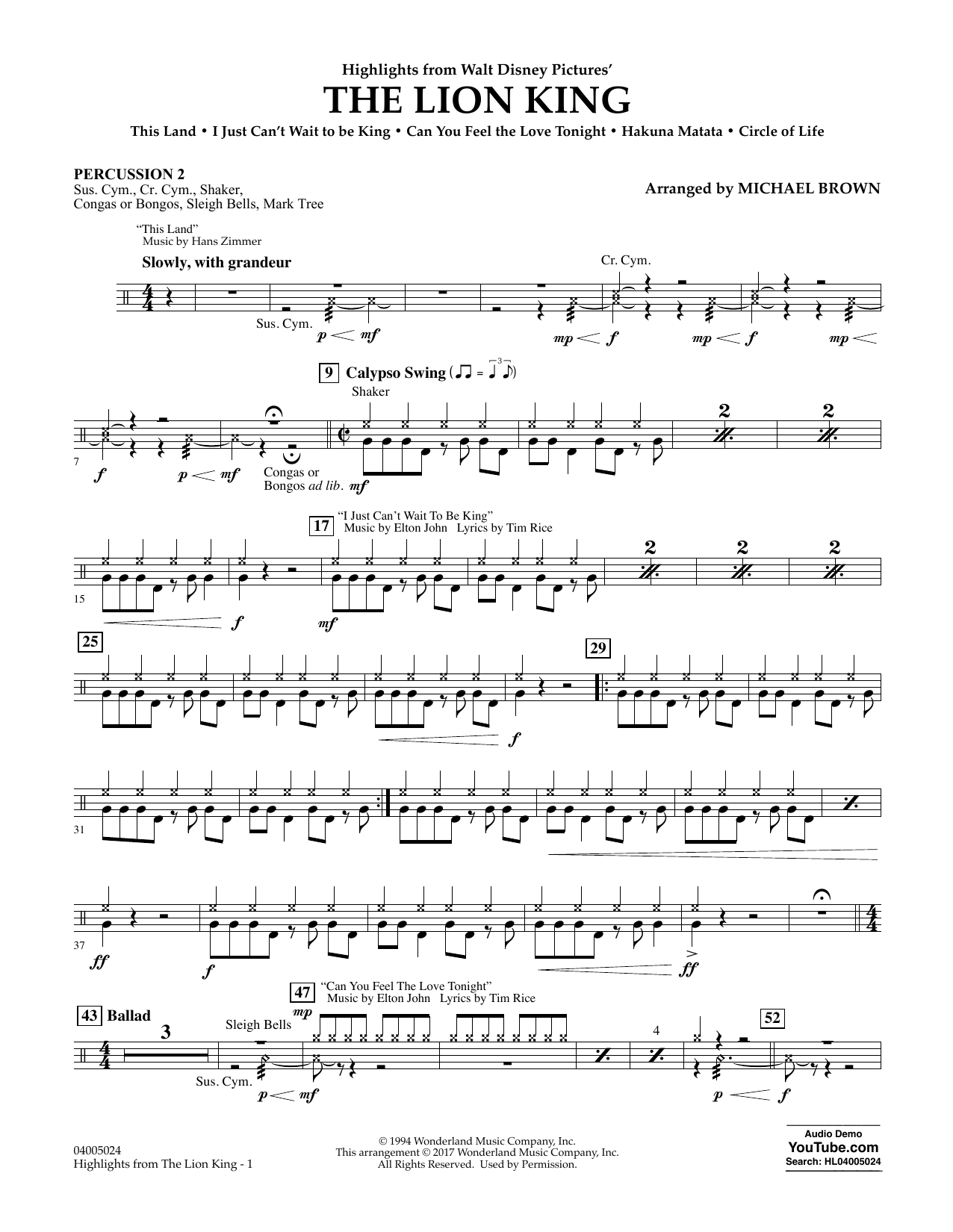 Highlights from The Lion King - Percussion 2 Sheet Music