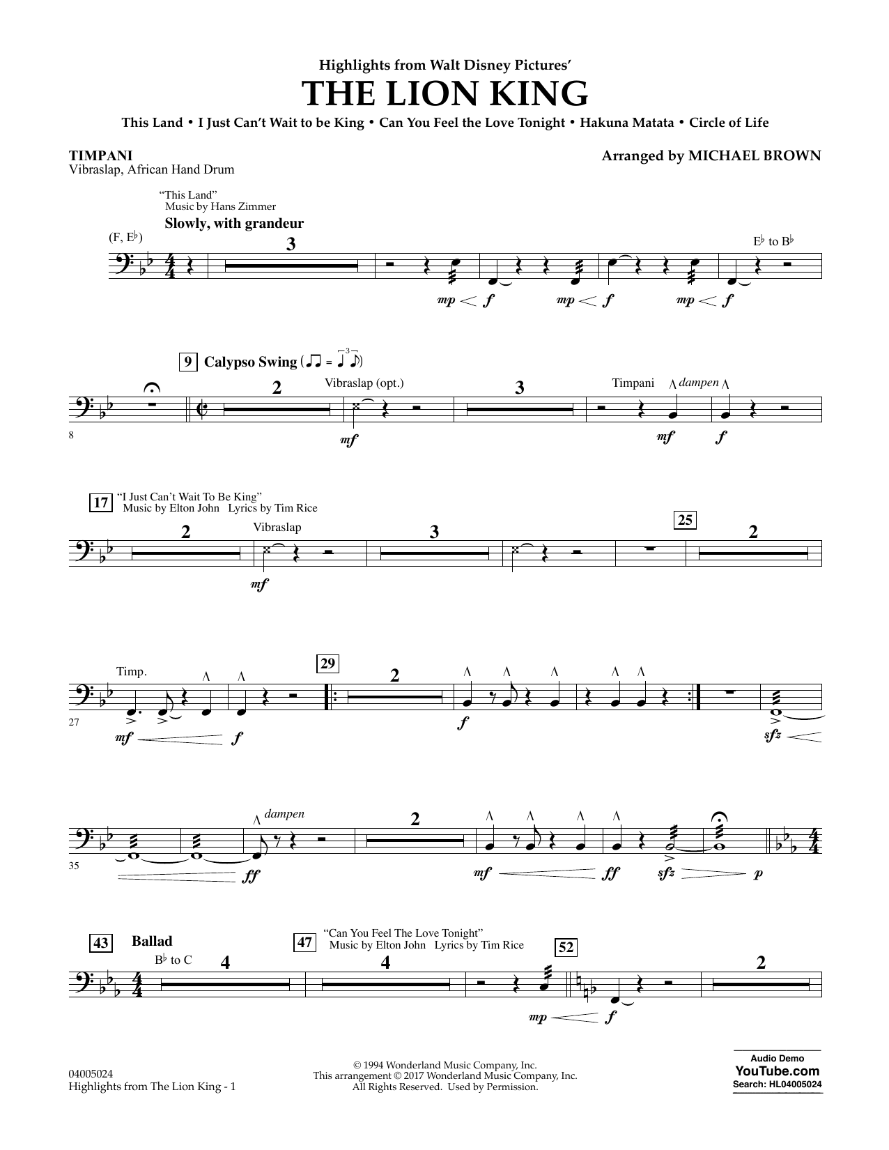 Highlights from The Lion King - Timpani Sheet Music