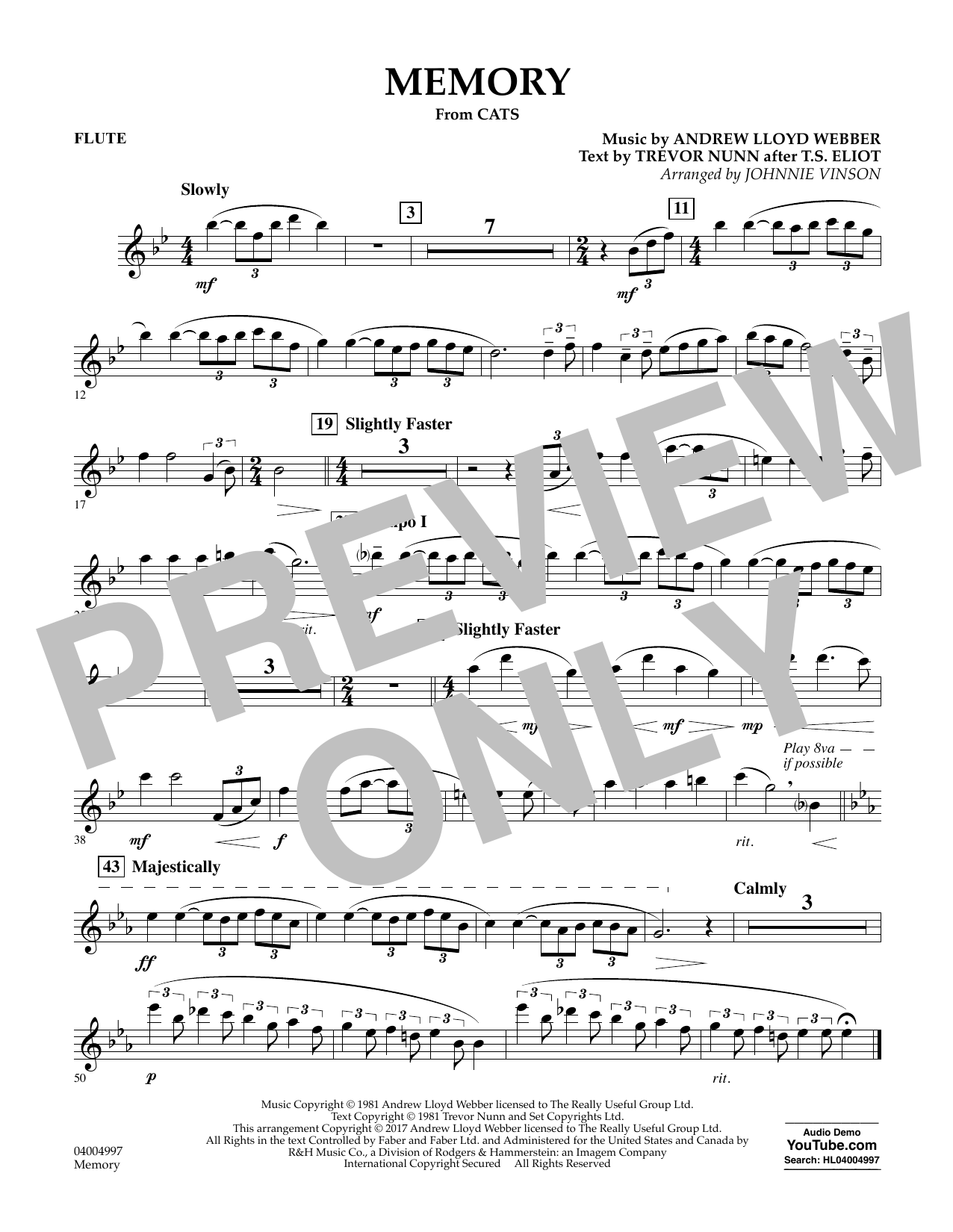 Memory (from Cats) - Flute Sheet Music