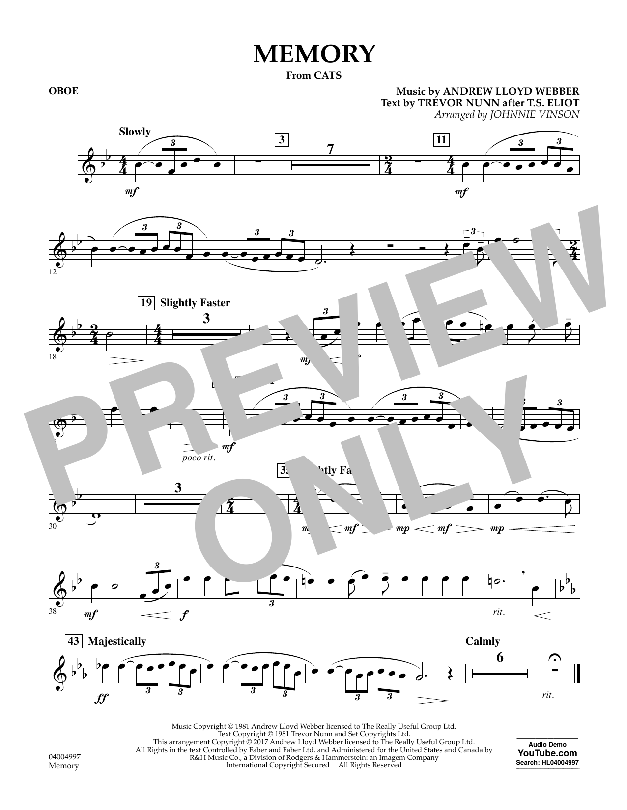 Memory (from Cats) (arr. Johnnie Vinson) - Oboe Sheet Music