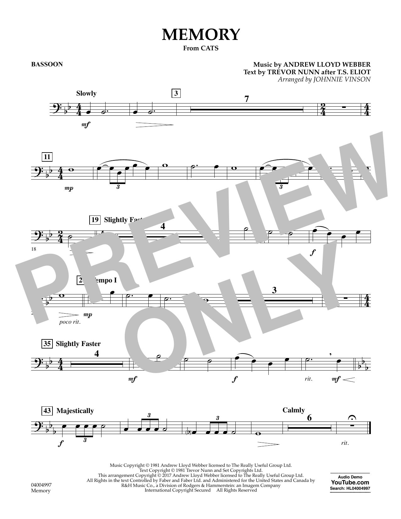 Memory (from Cats) - Bassoon Sheet Music