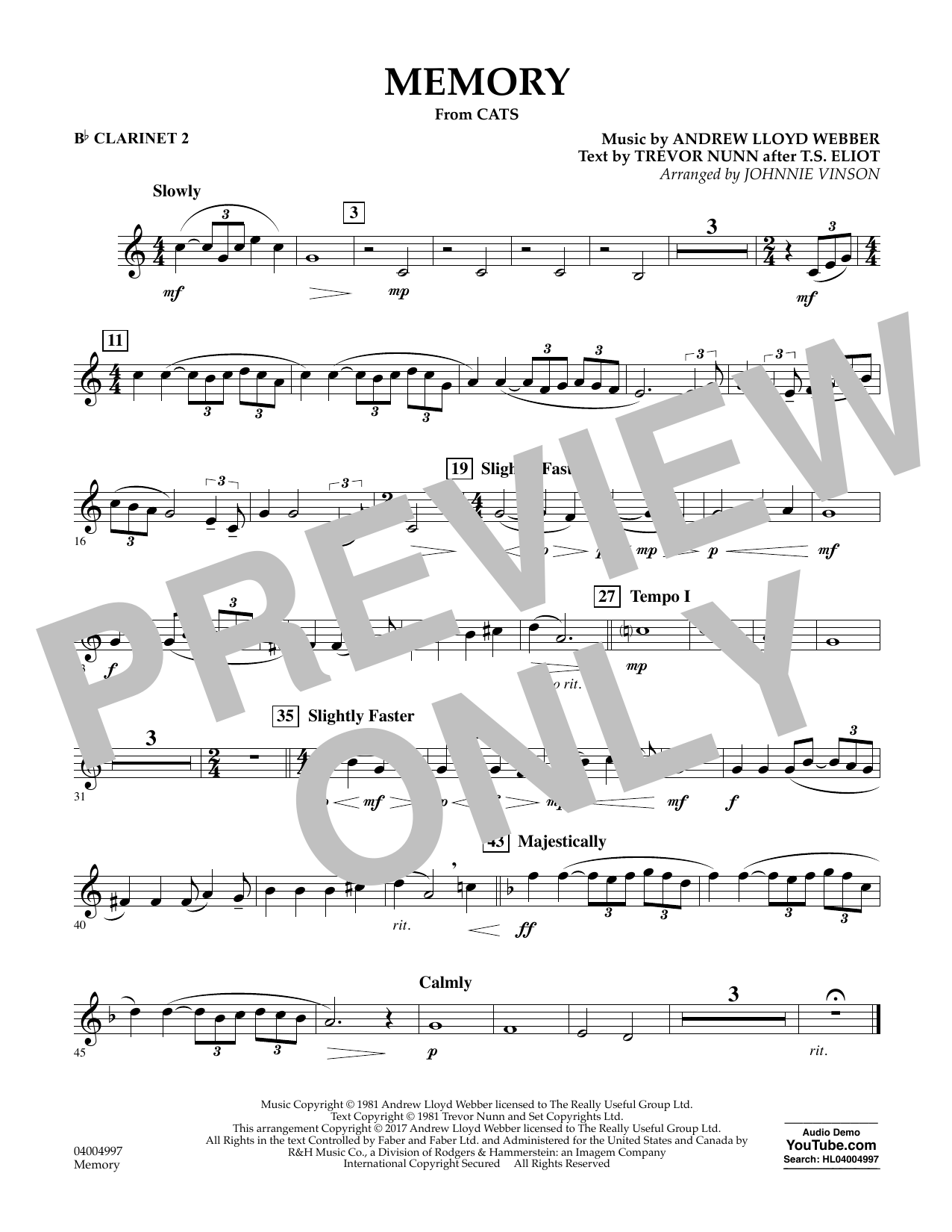 Memory (from Cats) (arr. Johnnie Vinson) - Bb Clarinet 2 Sheet Music