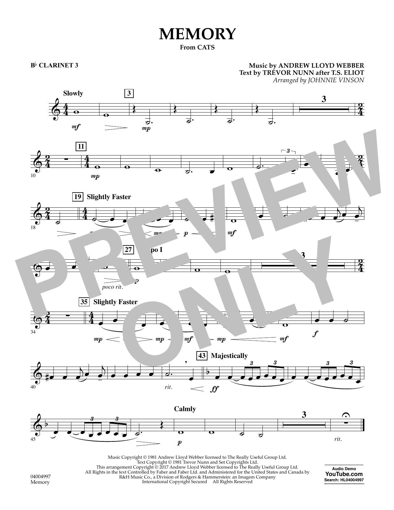 Memory (from Cats) - Bb Clarinet 3 Sheet Music