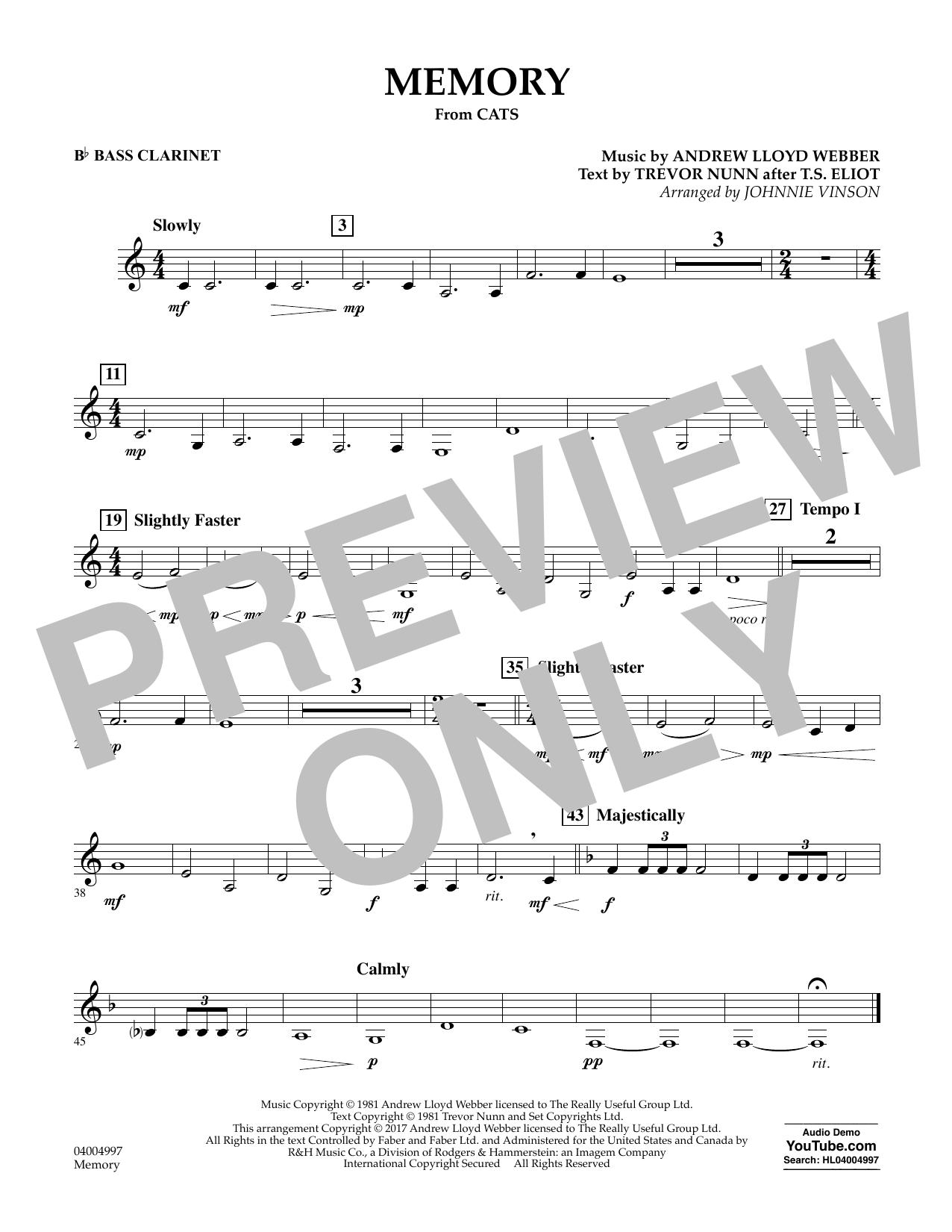 Memory (from Cats) - Bb Bass Clarinet Sheet Music