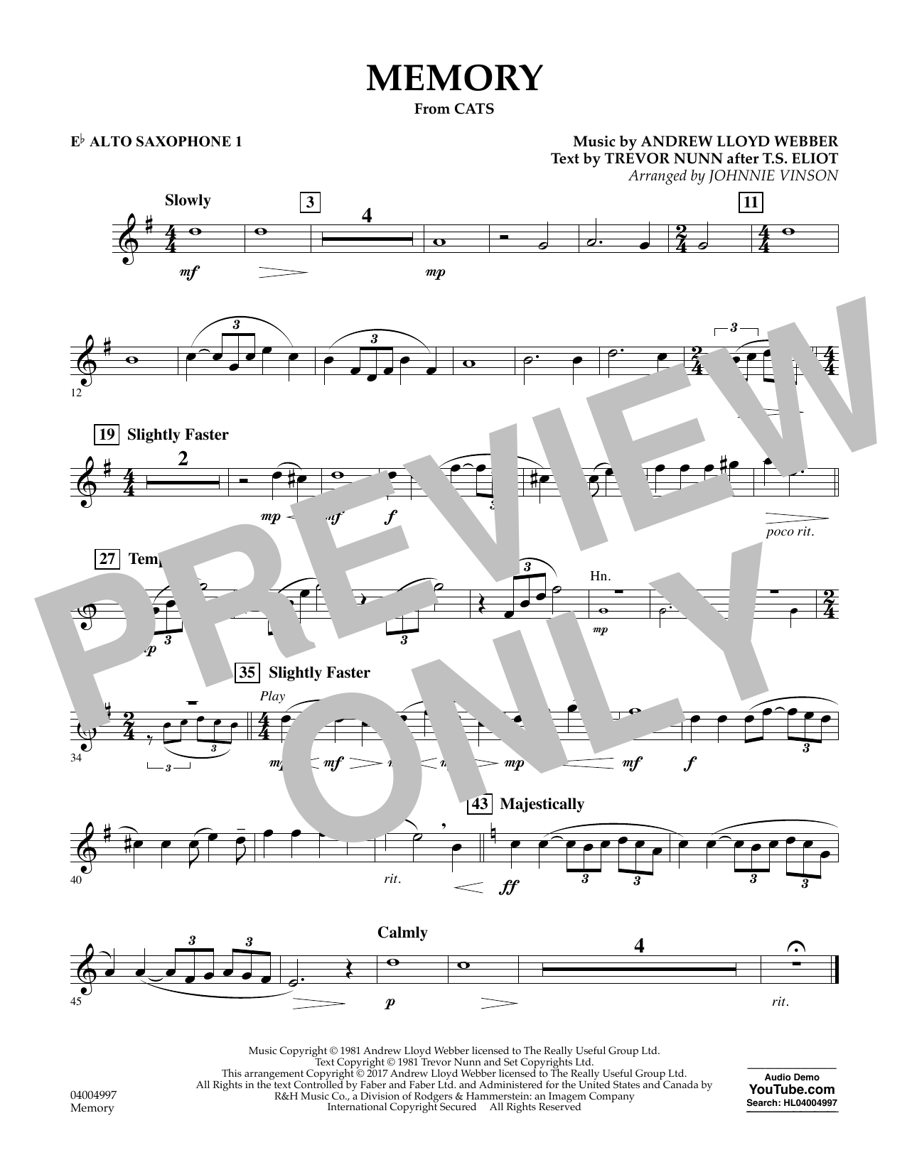 Memory (from Cats) (arr. Johnnie Vinson) - Eb Alto Saxophone 1 Sheet Music