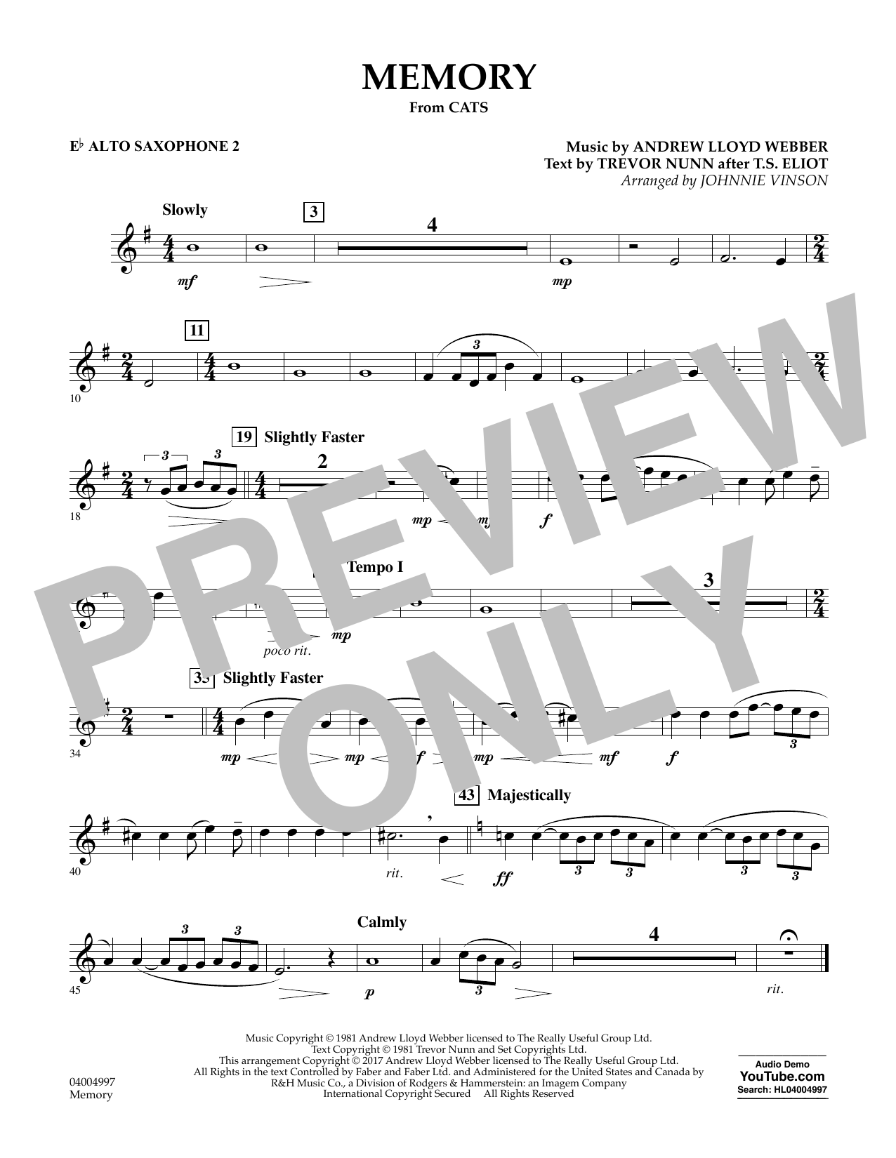 Memory (from Cats) (arr. Johnnie Vinson) - Eb Alto Saxophone 2 Sheet Music
