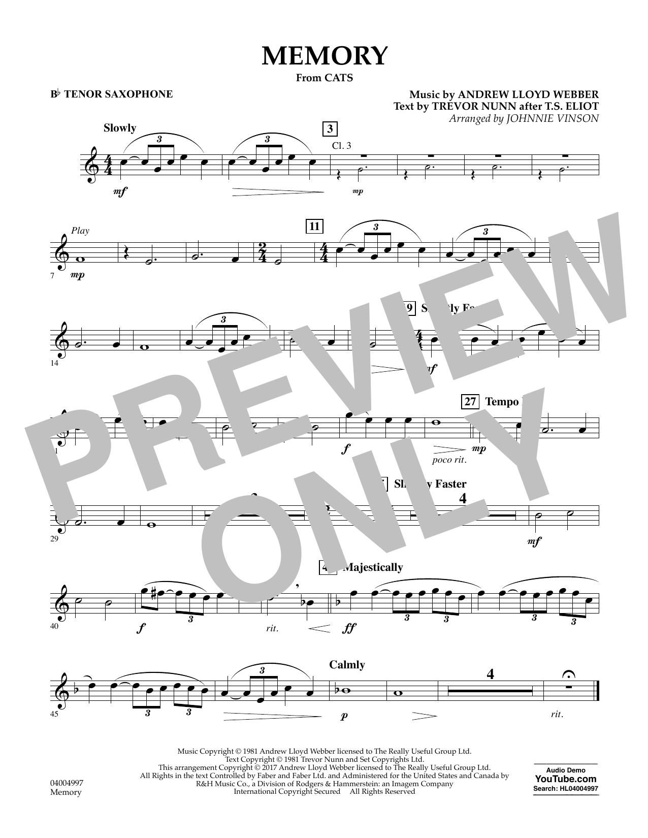 Memory (from Cats) - Bb Tenor Saxophone Sheet Music