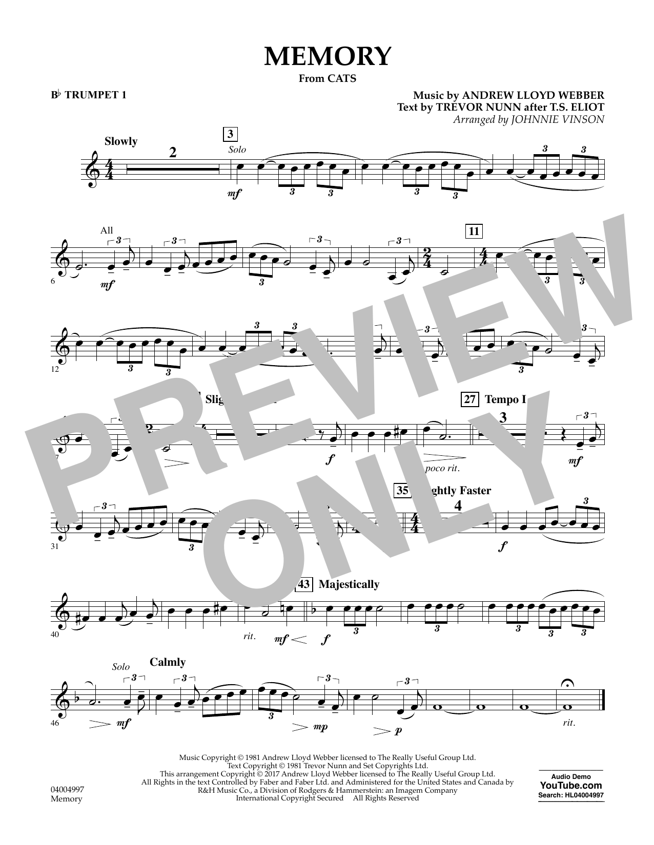 Memory (from Cats) (arr. Johnnie Vinson) - Bb Trumpet 1 Sheet Music
