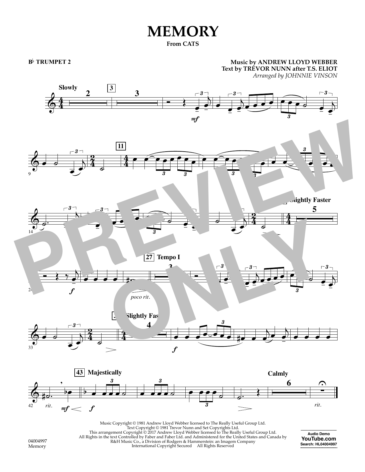 Memory (from Cats) (arr. Johnnie Vinson) - Bb Trumpet 2 Sheet Music