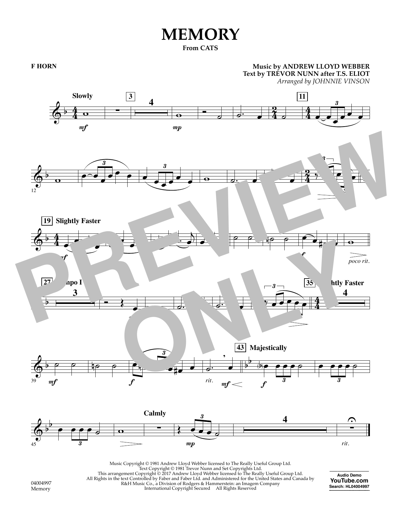 Memory (from Cats) (arr. Johnnie Vinson) - F Horn Sheet Music
